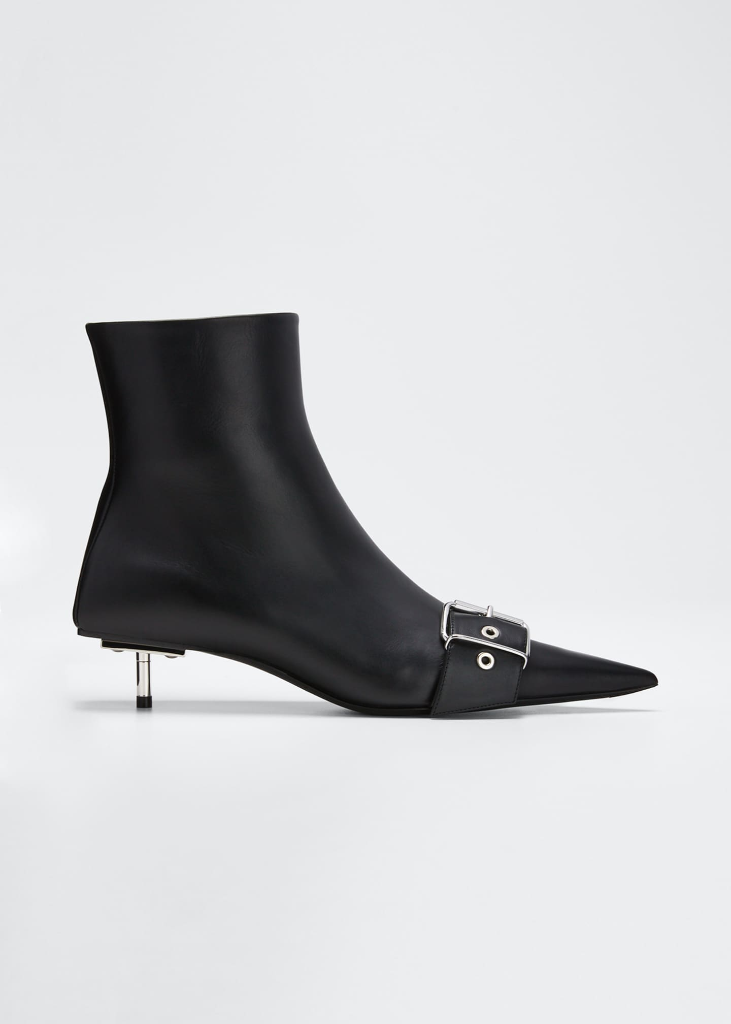 Image 1 of 5: Belted Low-Heel Leather Booties