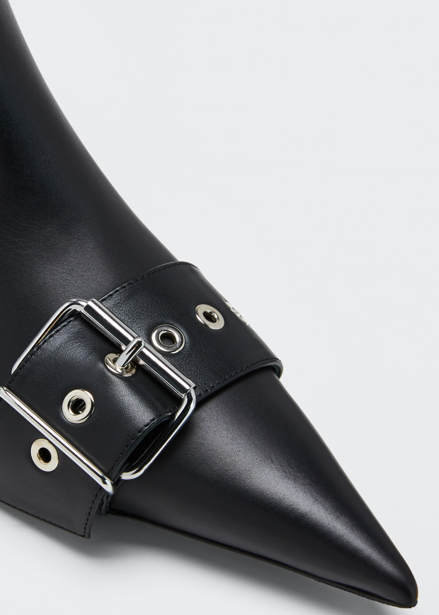 Image 5 of 5: Belted Low-Heel Leather Booties