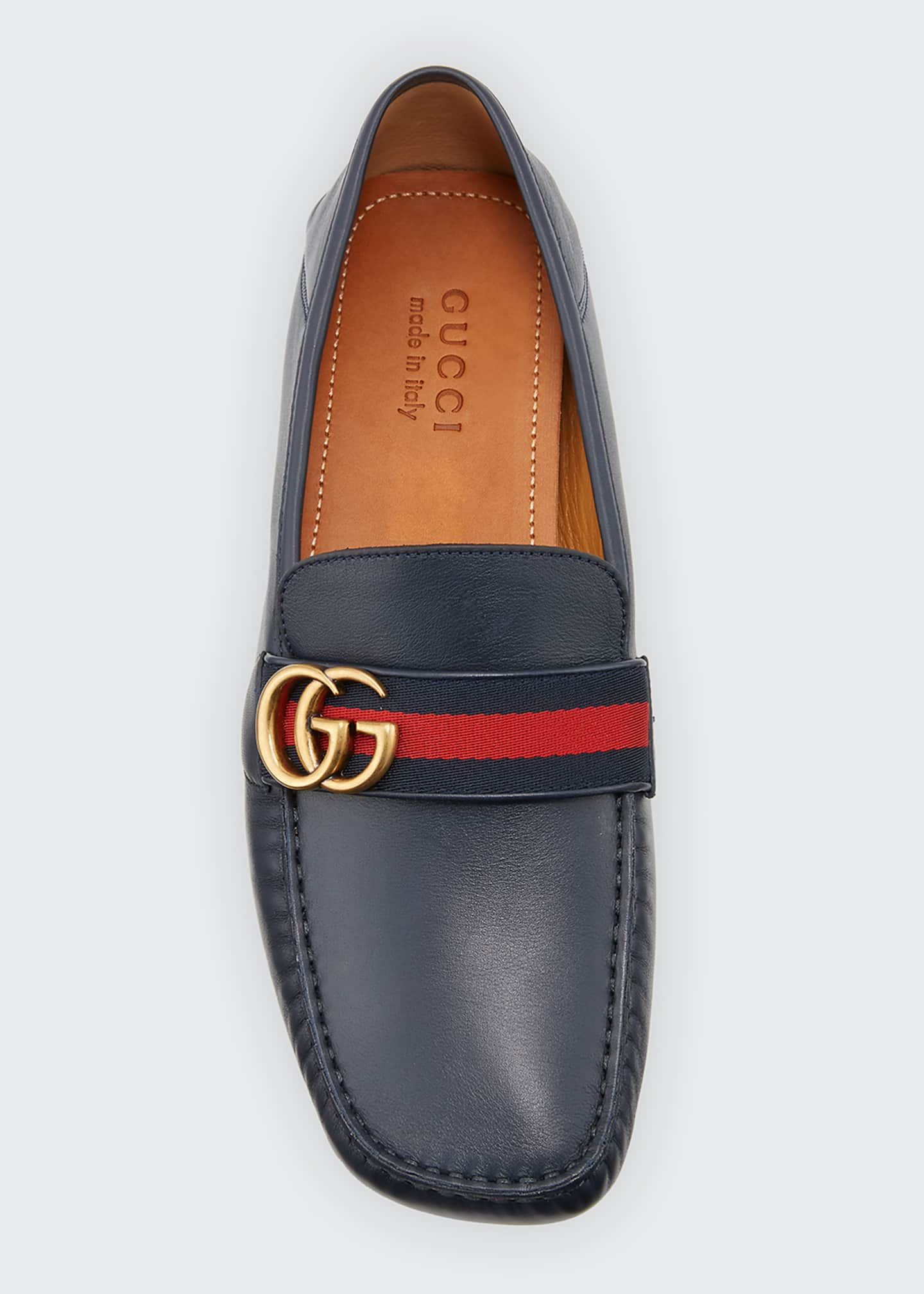 Image 3 of 3: Men's Noel Leather Drivers with GG Web Strap