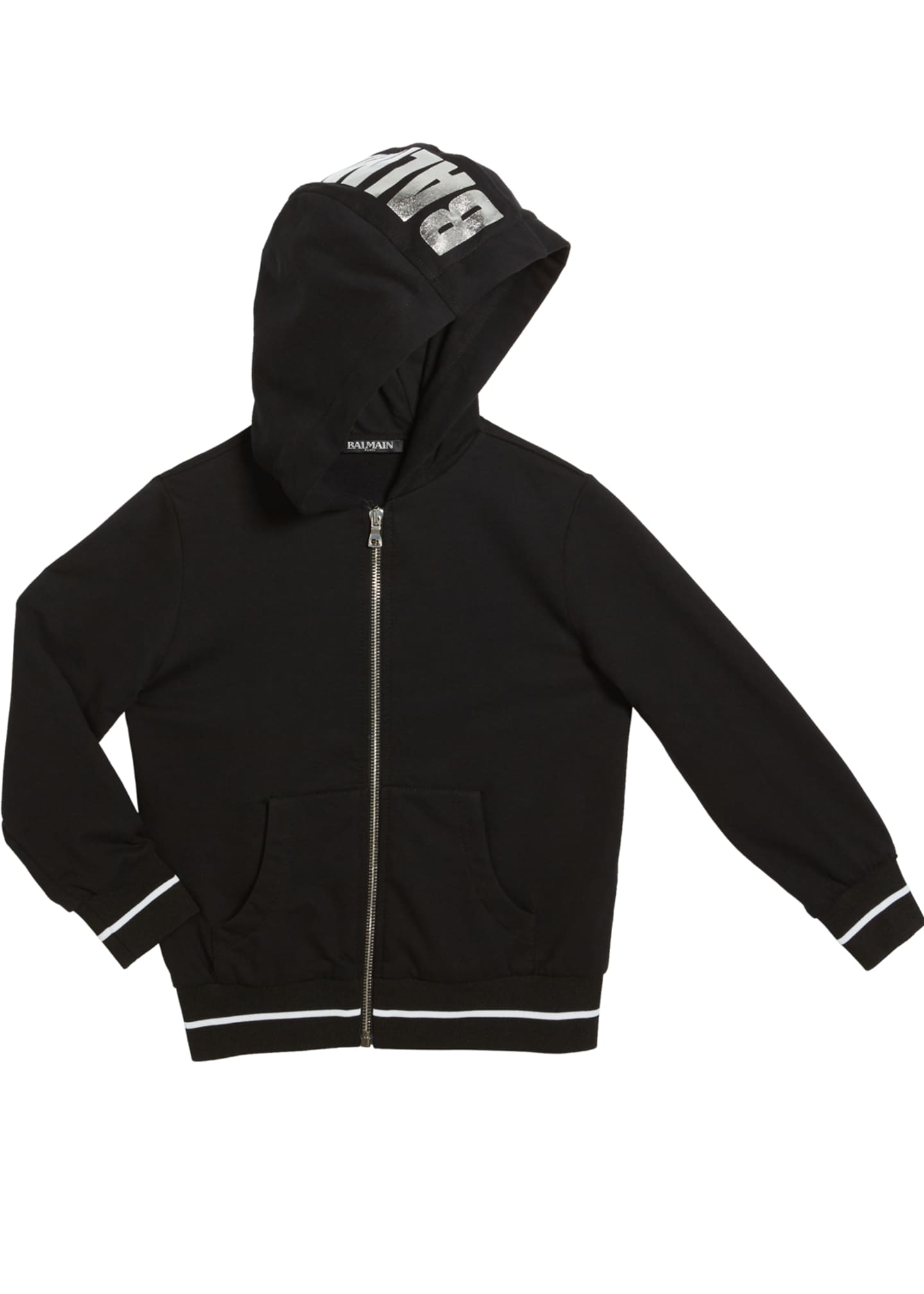 Balmain Kid's Zip-Up Hoodie w/ Metallic Logo, Size