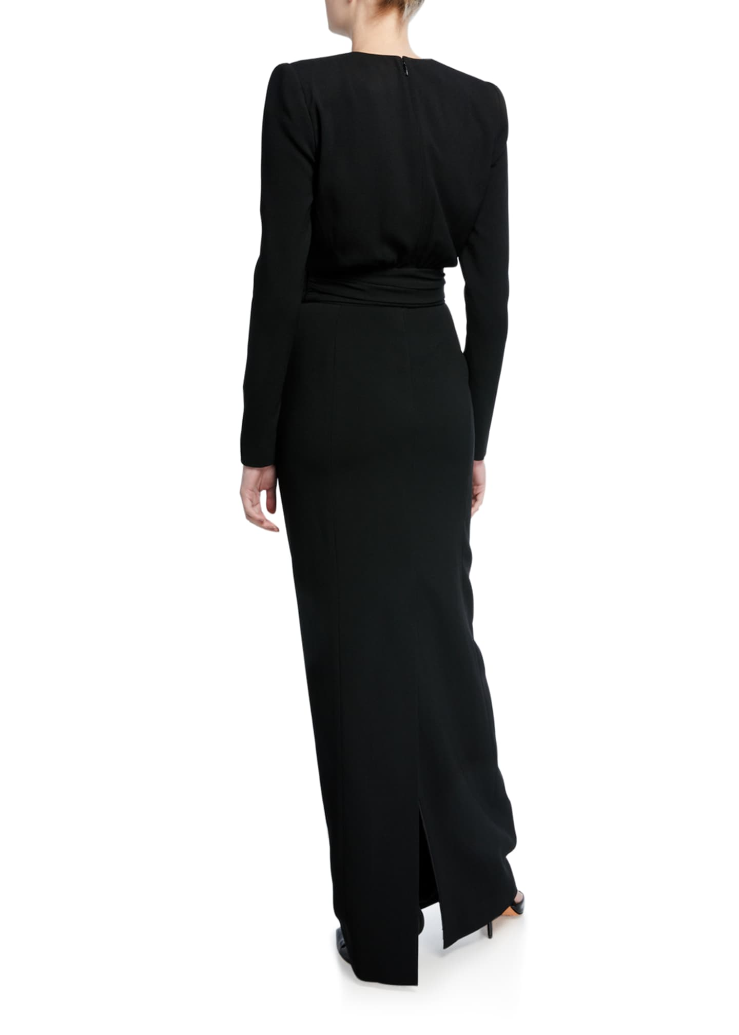 Image 2 of 2: Crepe Keyhole-Front Long-Sleeve Gown