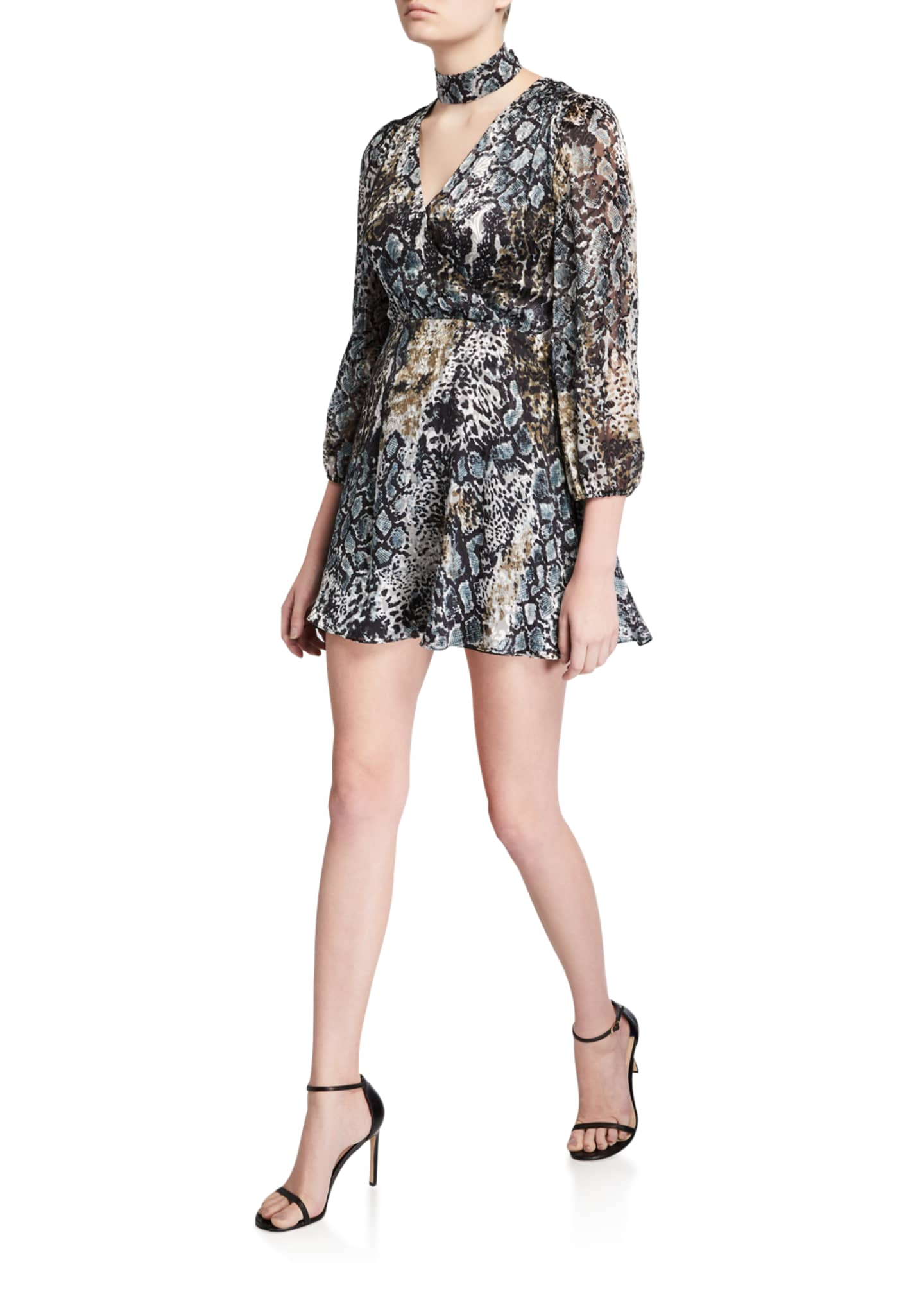 Alice + Olivia Rita Mock-Neck Blouson-Sleeve Dress