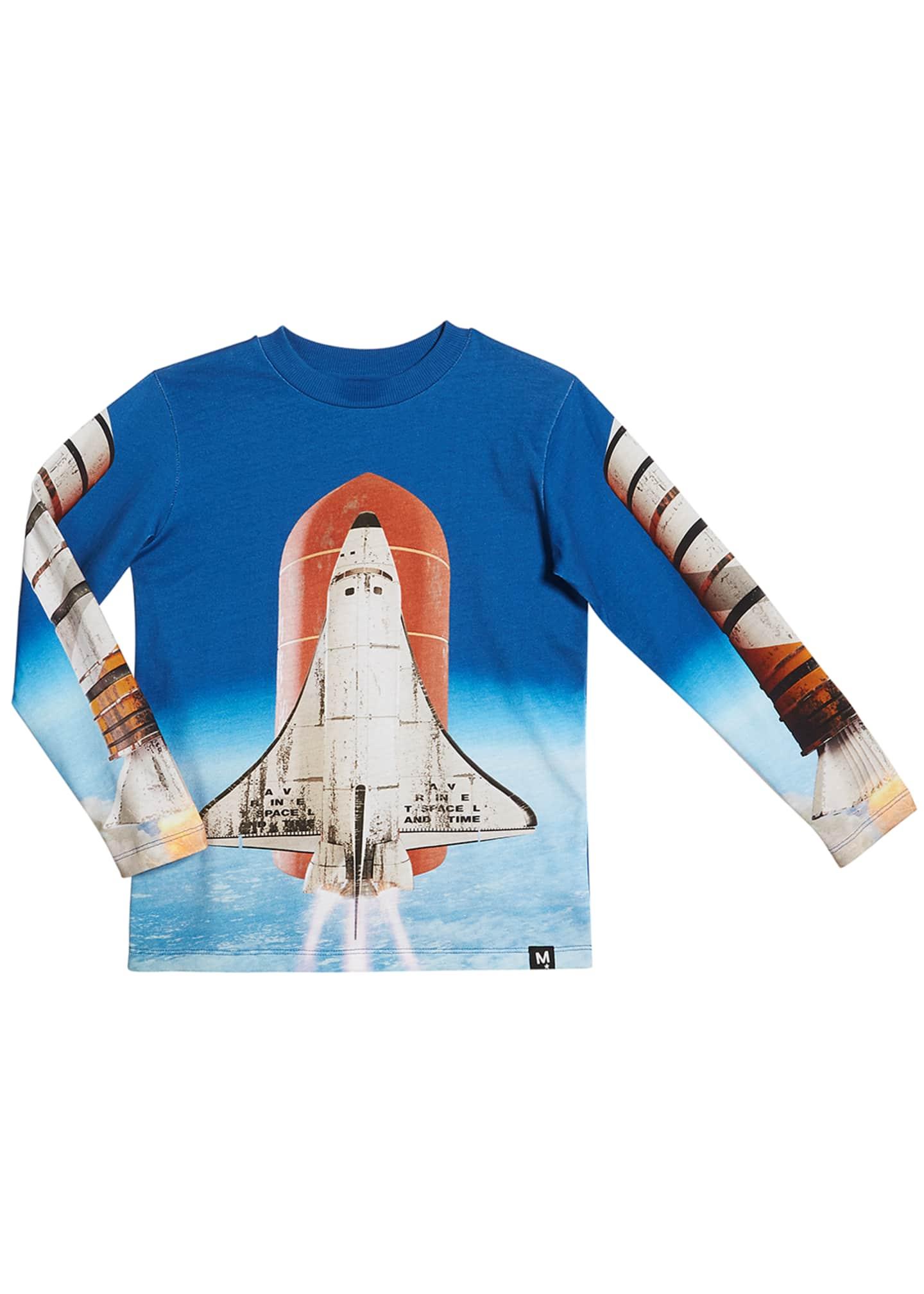 Molo Reif Rocket Ship Print Long-Sleeve Tee, Size
