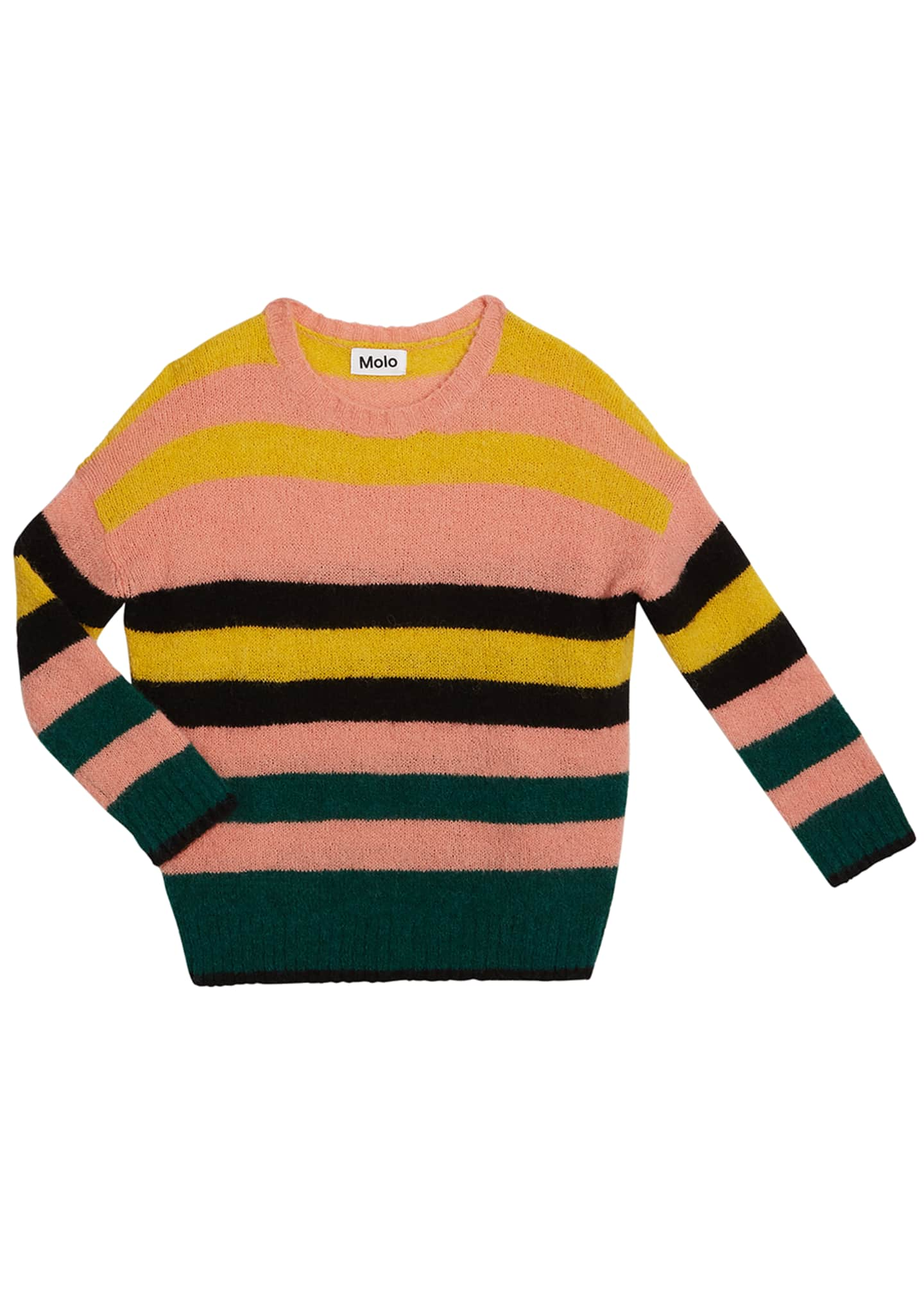 Molo Geneen Mixed Stripe Mohair-Blend Sweater, Size 5-16