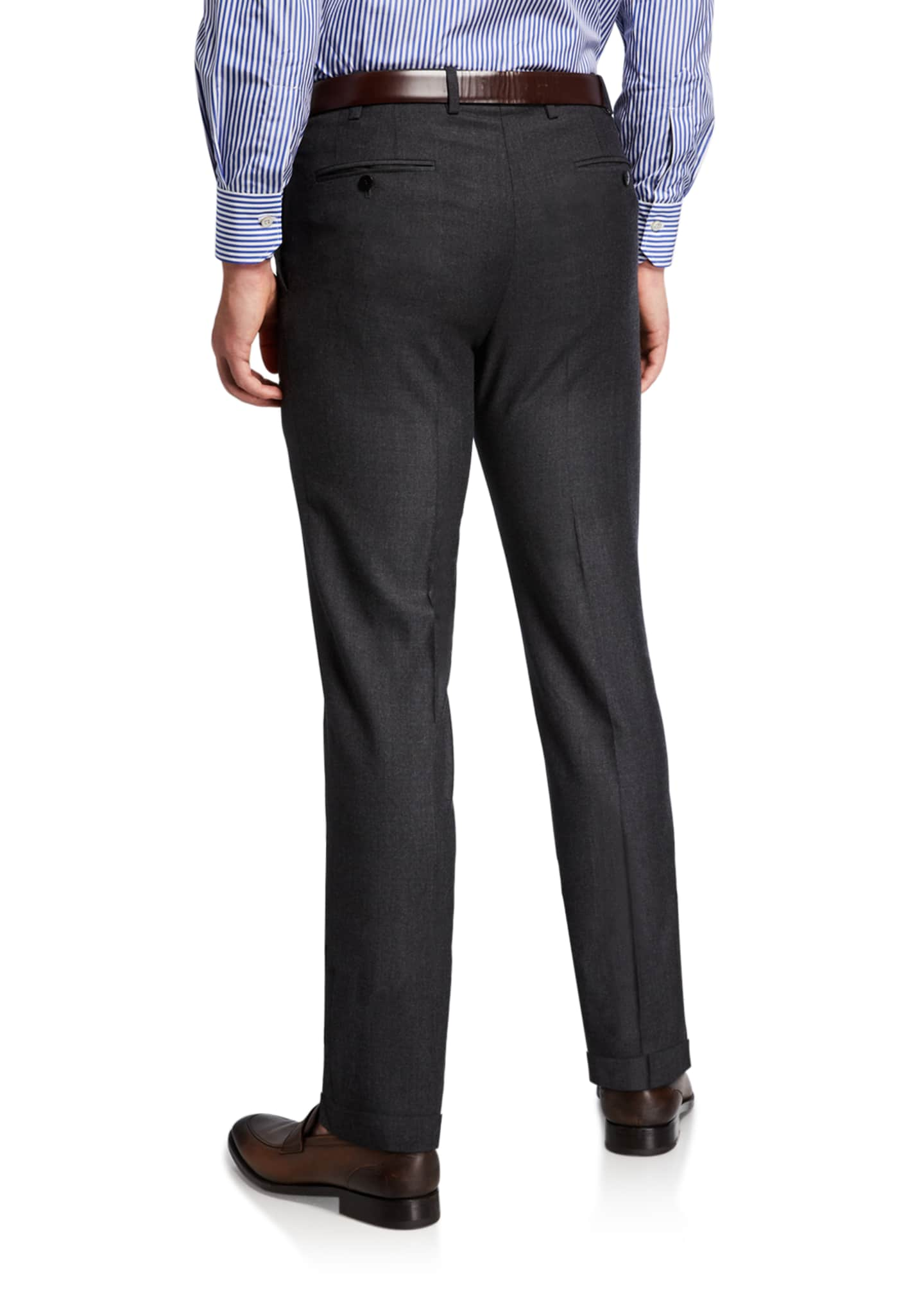 Image 2 of 3: Men's Wool Flat-Front Dress Pants, Charcoal
