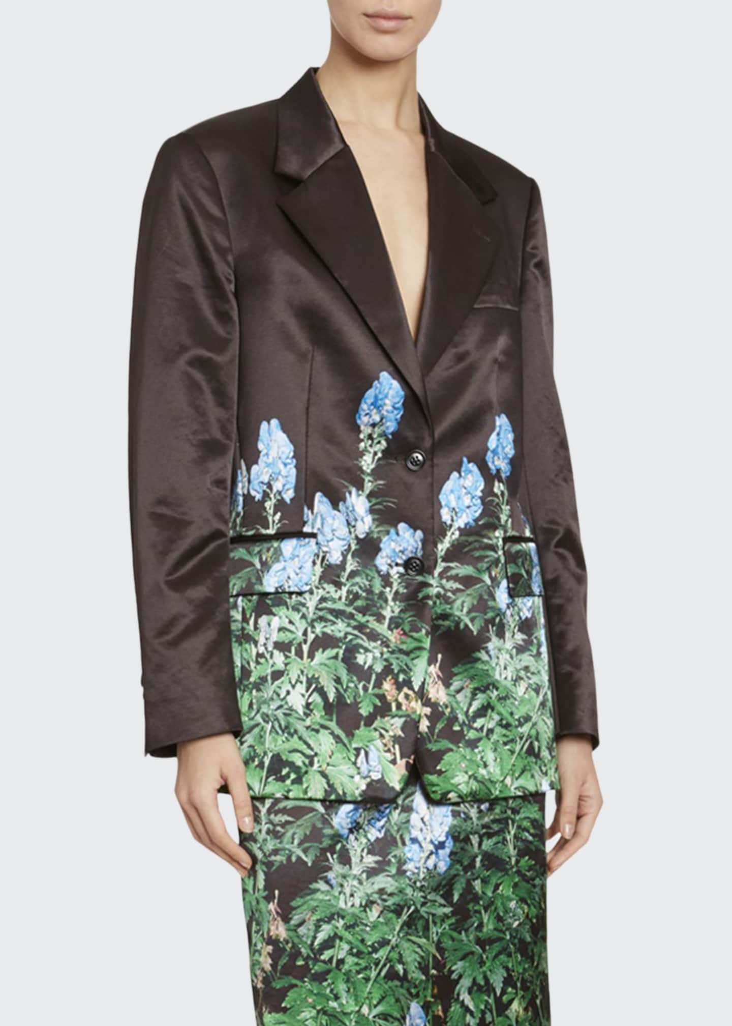 Dries Van Noten Floral-Print Satin Blazer