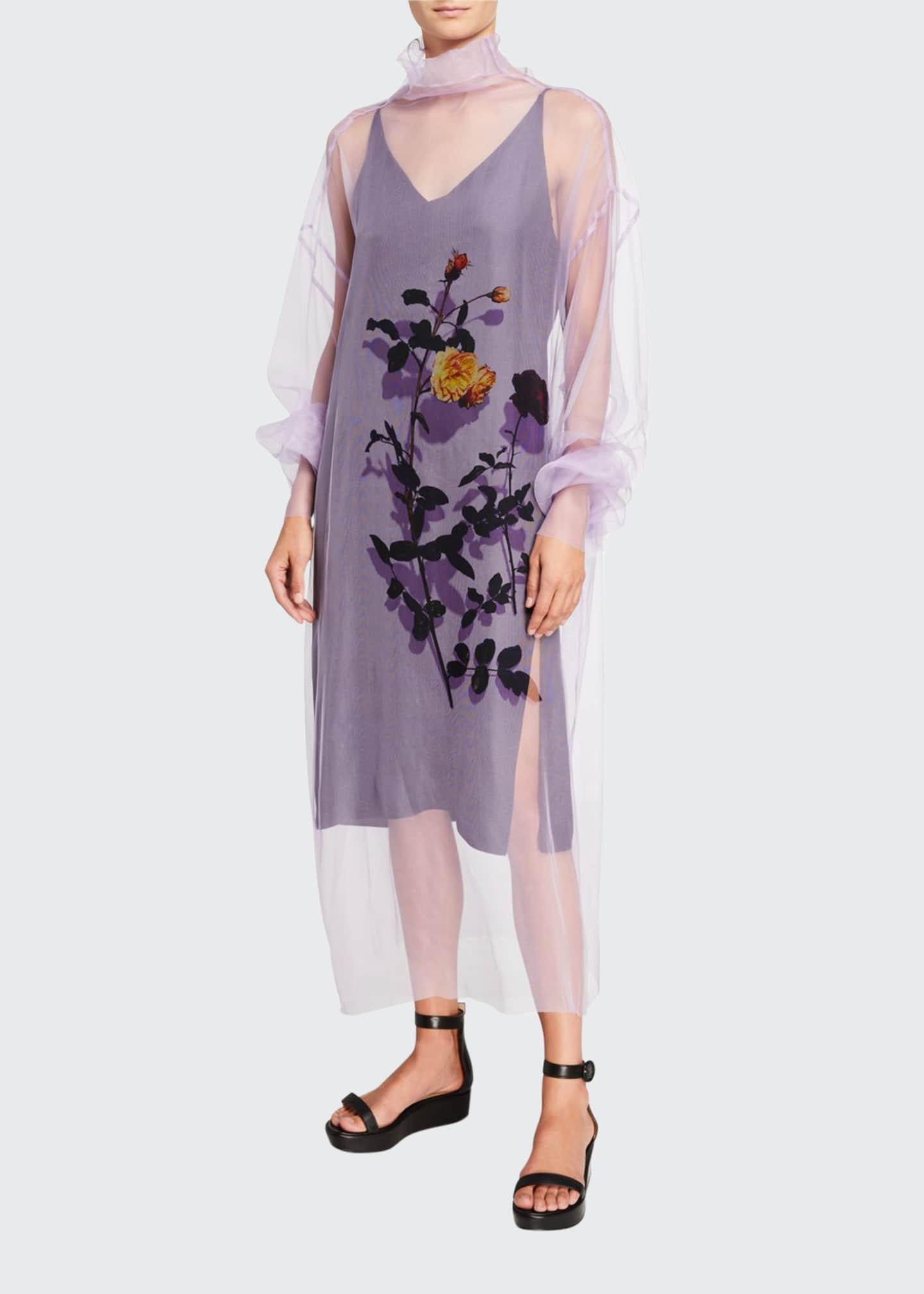 Dries Van Noten Floral Print Sheer Tulle Dress