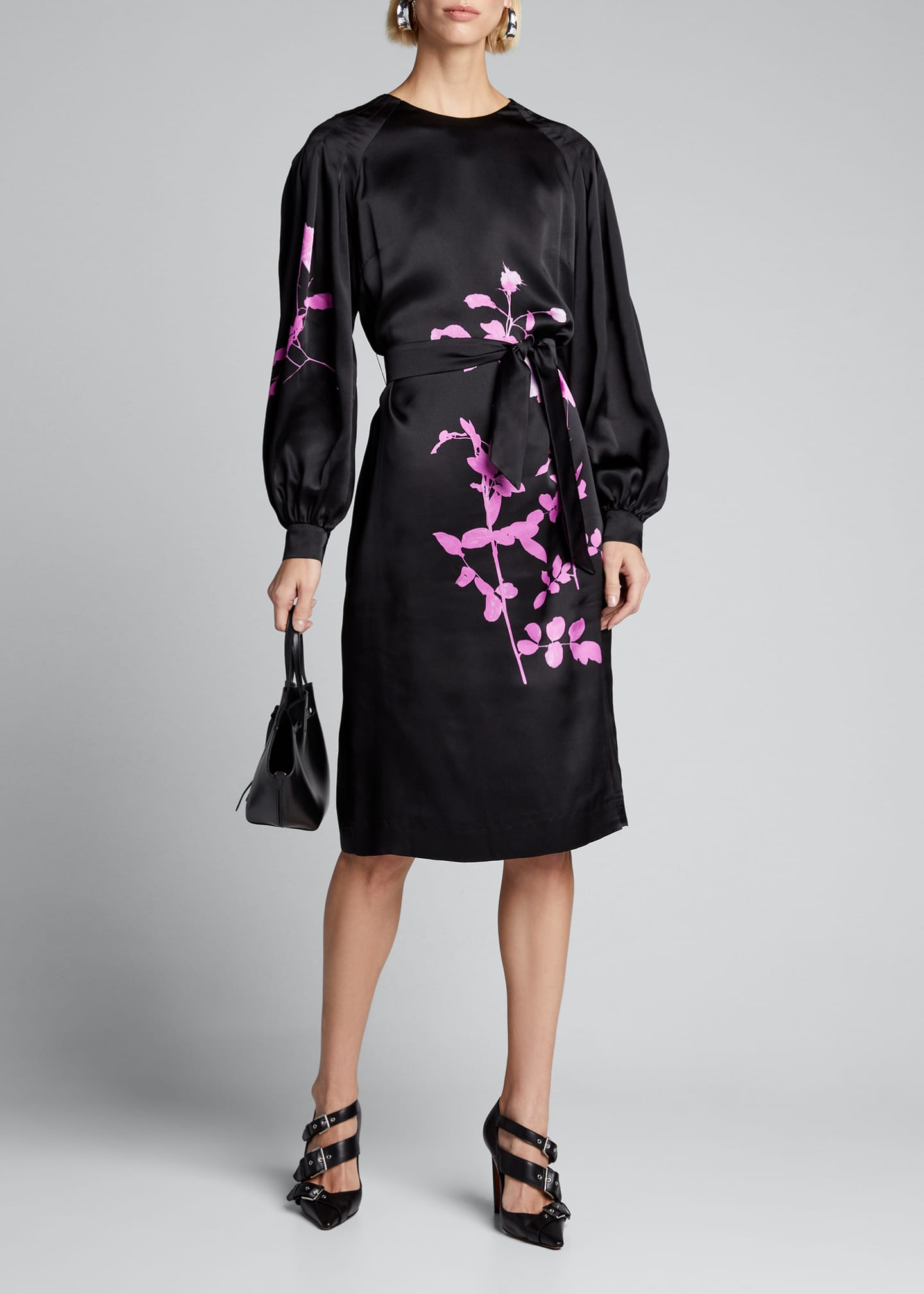 Dries Van Noten Floral-Print Taffeta Balloon-Sleeve Dress
