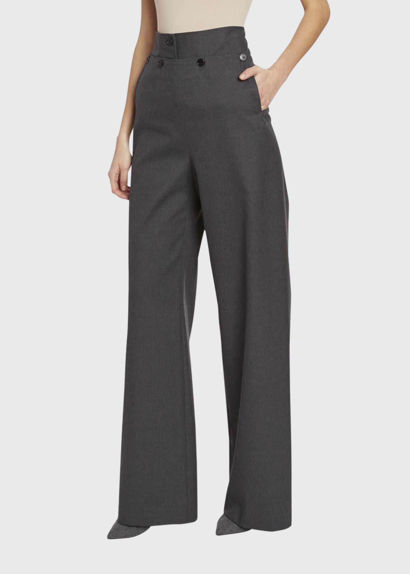 Dries Van Noten Wool High-Rise Sailor Pants