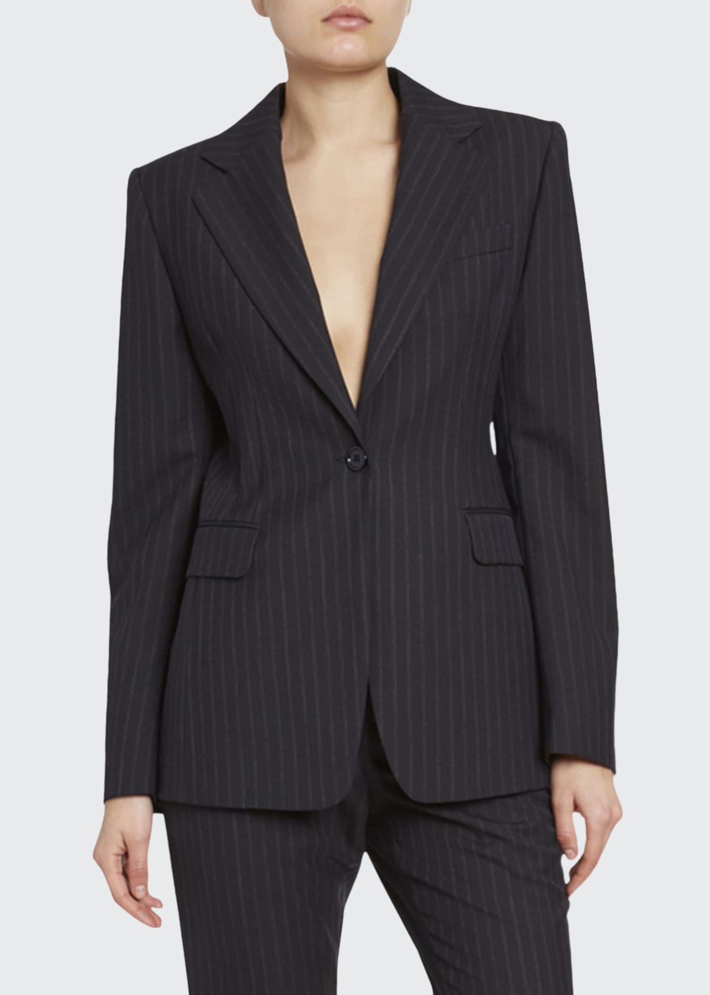 Dries Van Noten Pinstriped One-Button Blazer