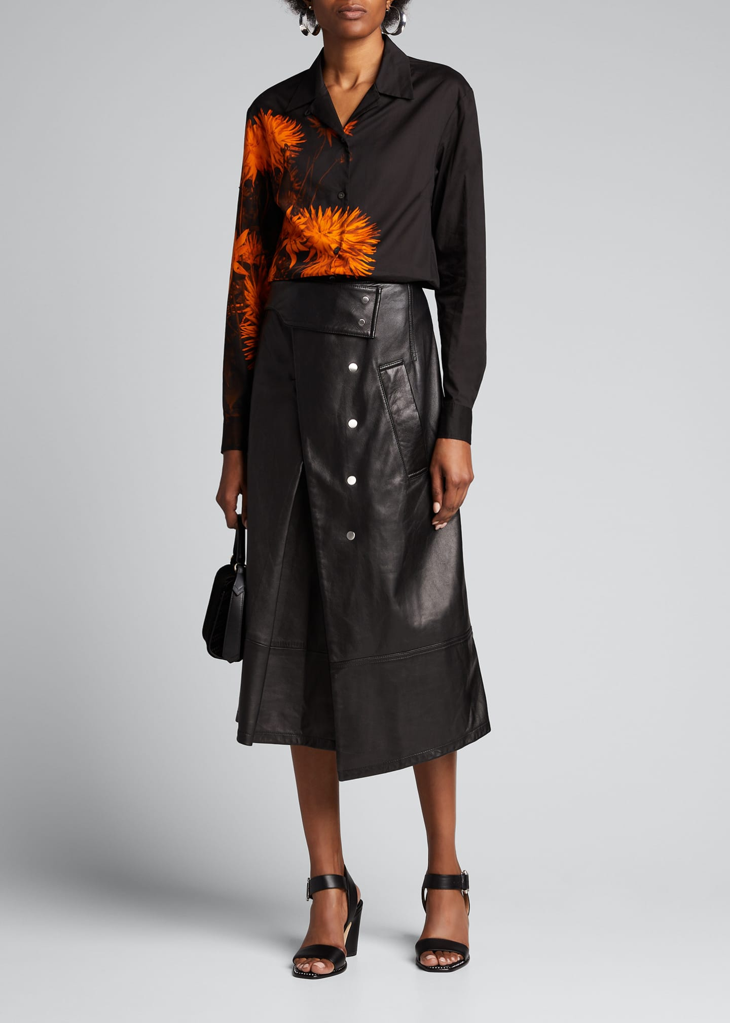 Dries Van Noten Floral-Print Georgette Button-Front Shirt