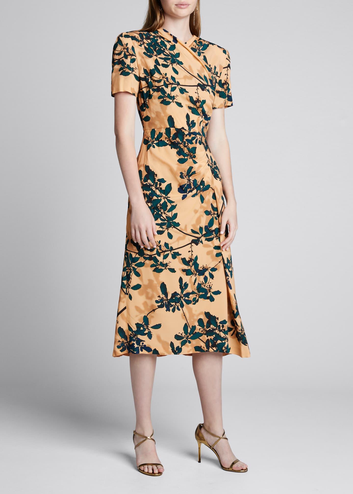 Dries Van Noten Delores Floral Print Draped-Front Dress
