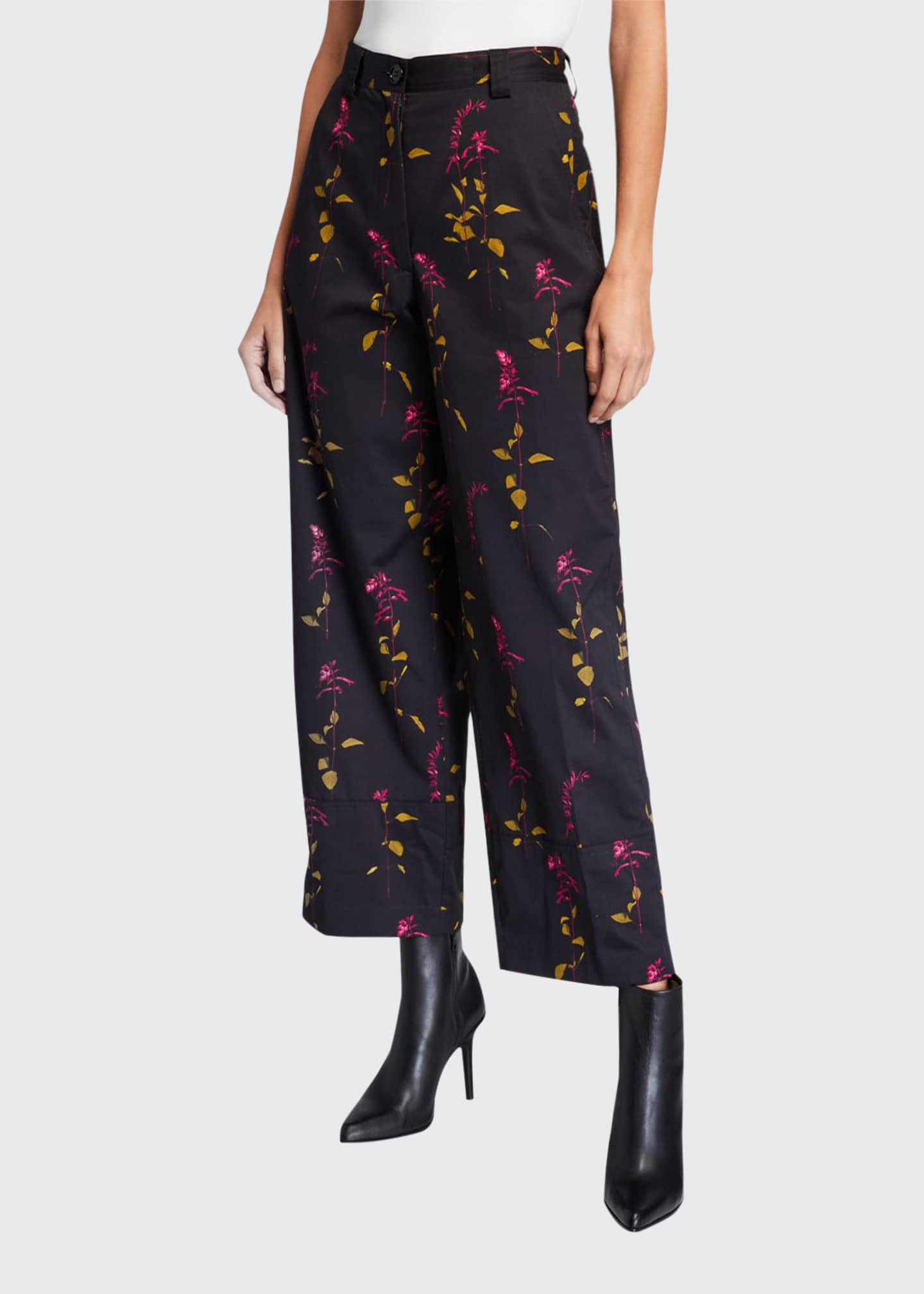 Dries Van Noten Floral-Print Cropped Pants