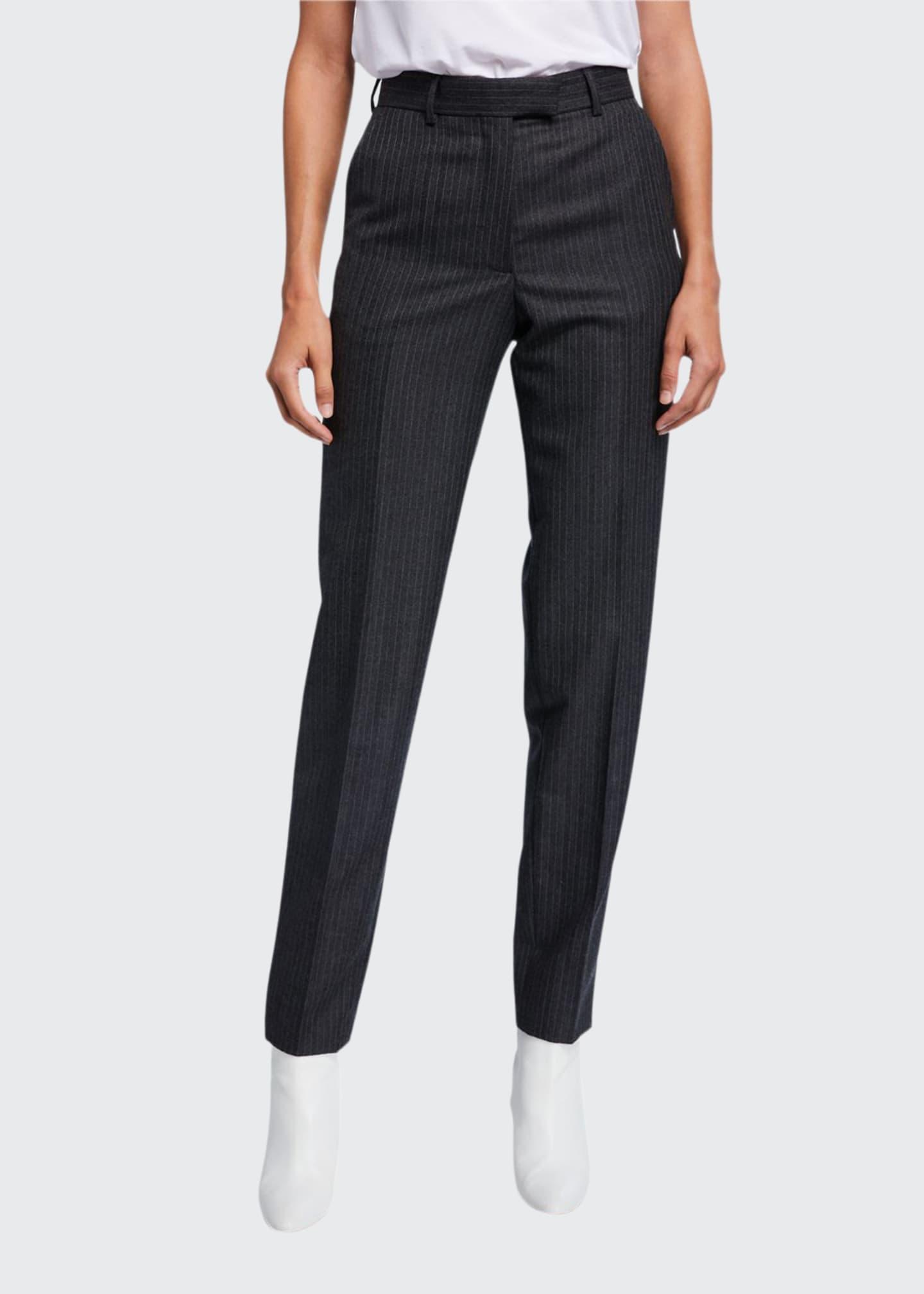 Dries Van Noten Pinstriped Wool Front Pants