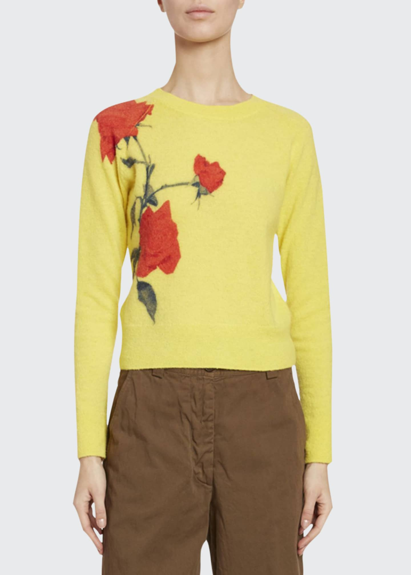 Dries Van Noten Rose-Jacquard Crewneck Sweater