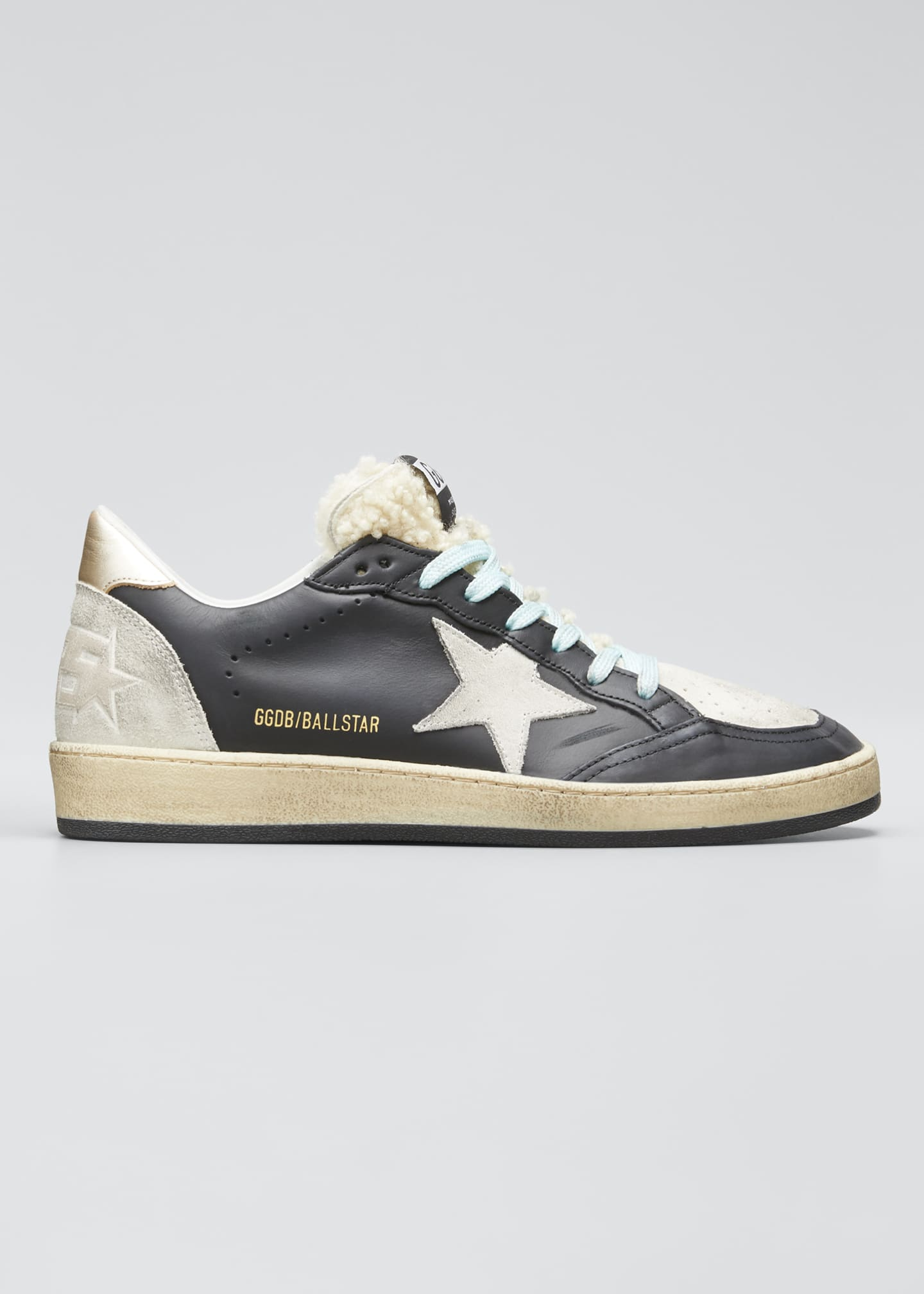 Golden Goose Mixed Leather Sneakers with Shearling Trim