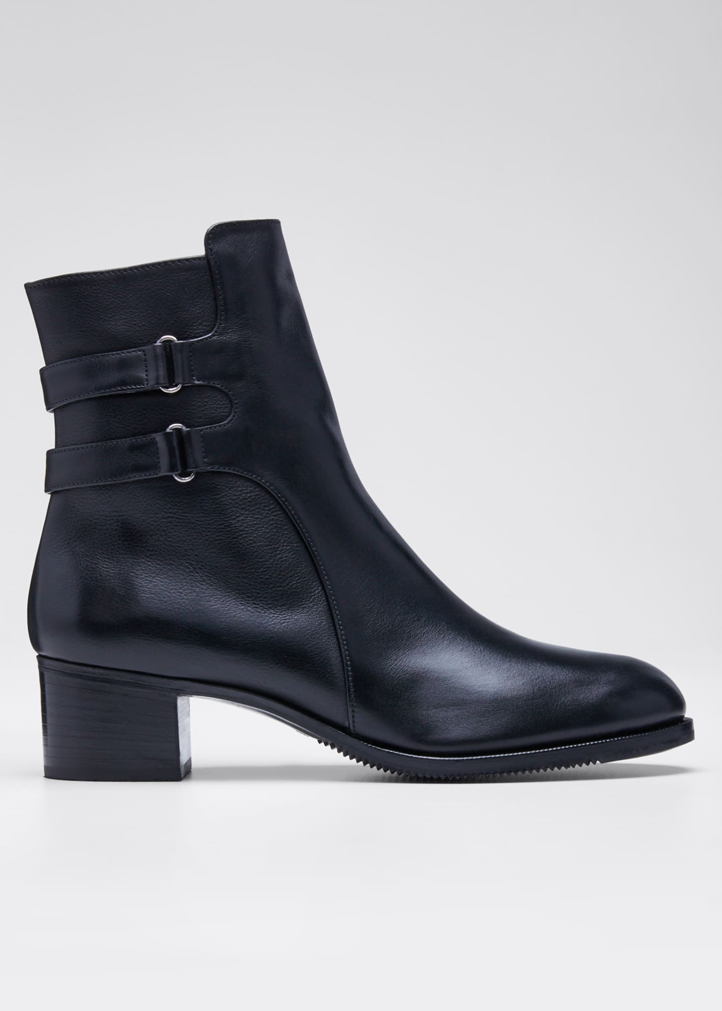 Image 1 of 5: Leather Double-Buckle Booties