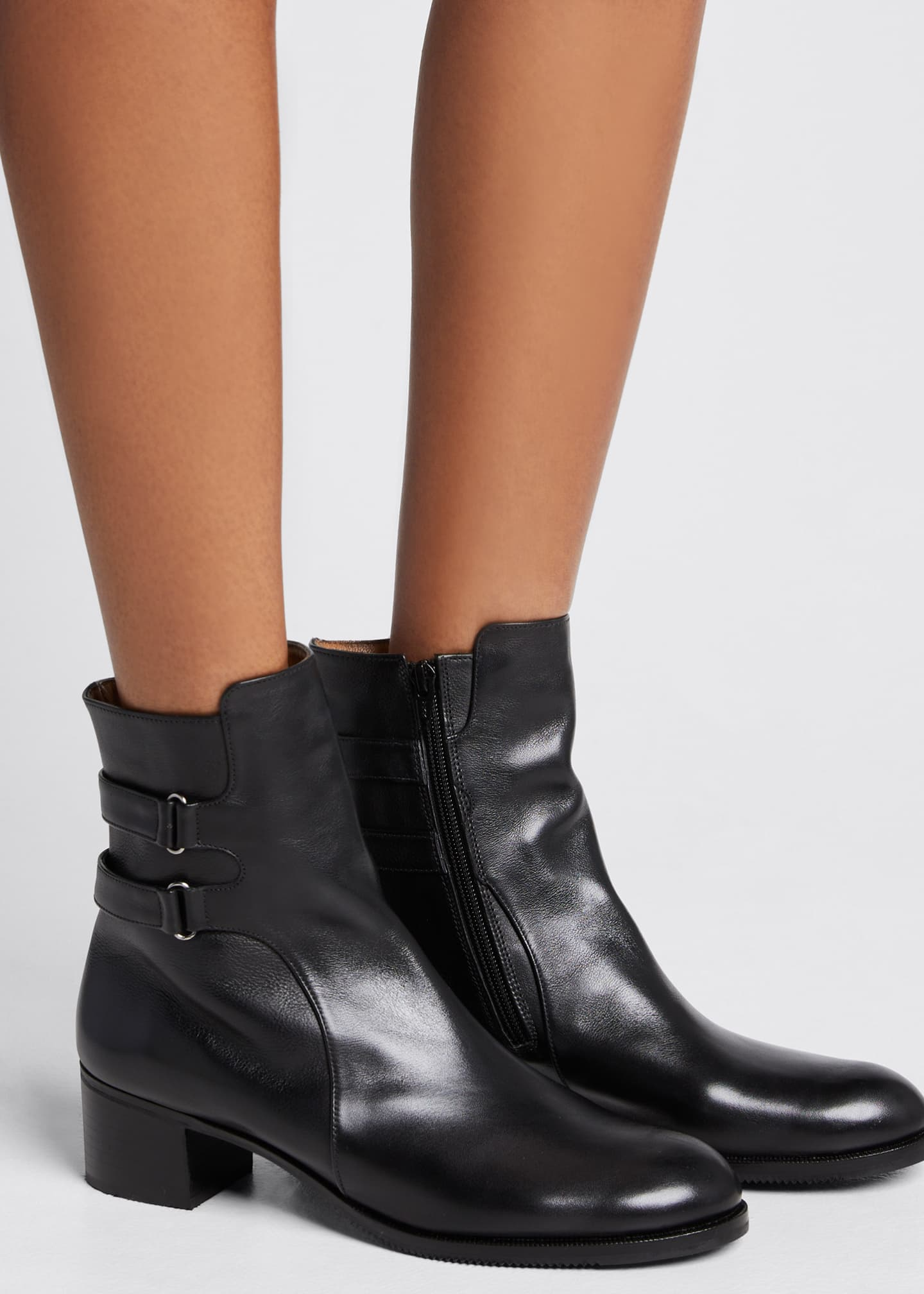 Image 2 of 5: Leather Double-Buckle Booties