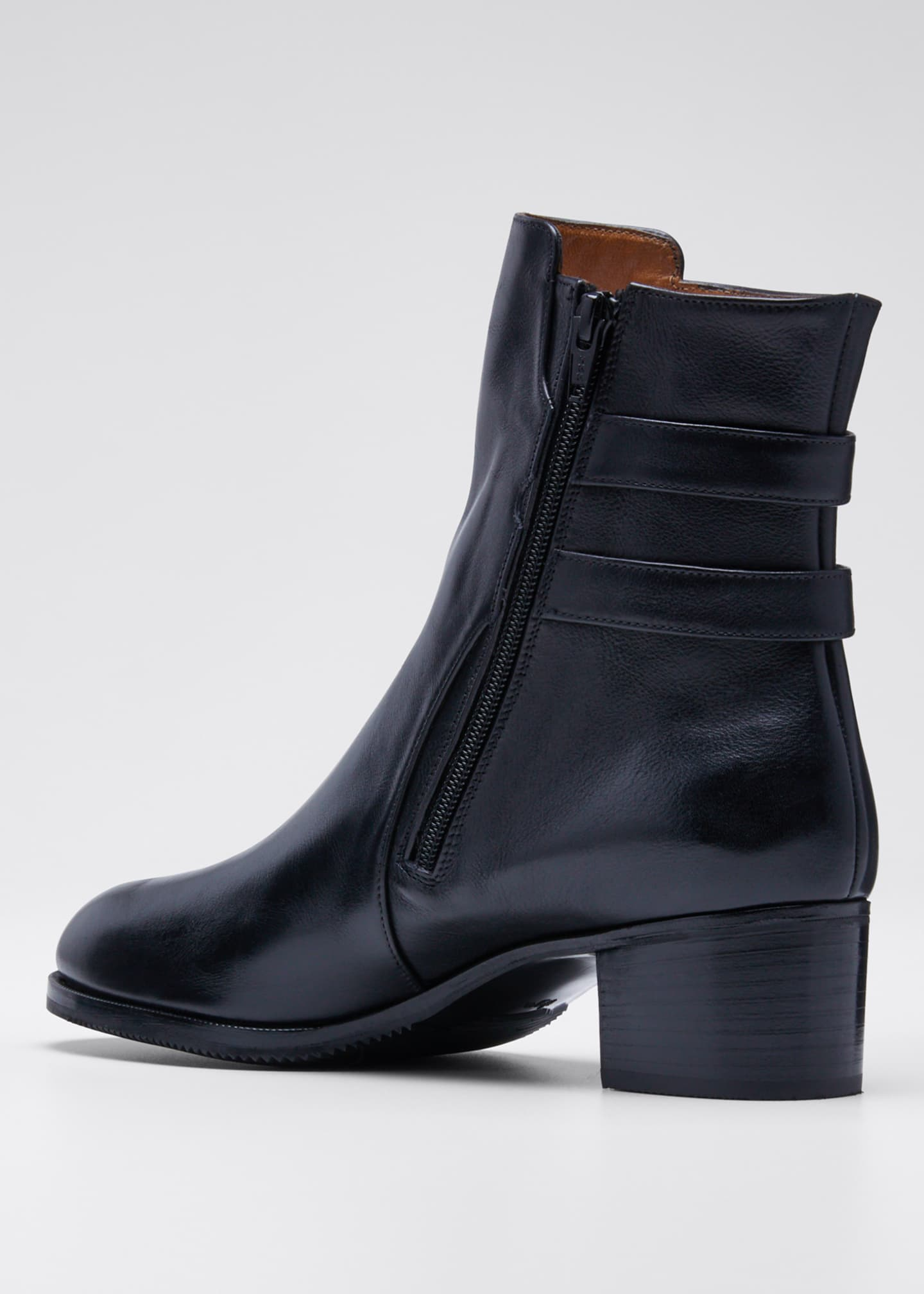 Image 4 of 5: Leather Double-Buckle Booties