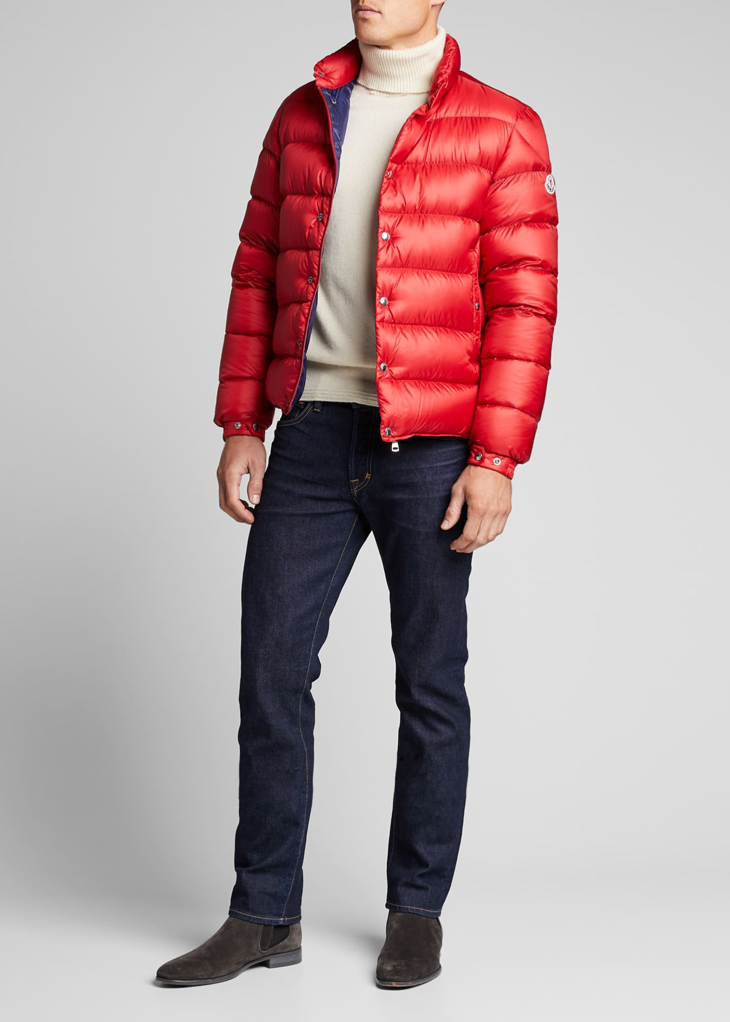 Moncler Men's Nylon Chrome-Button Puffer Jacket