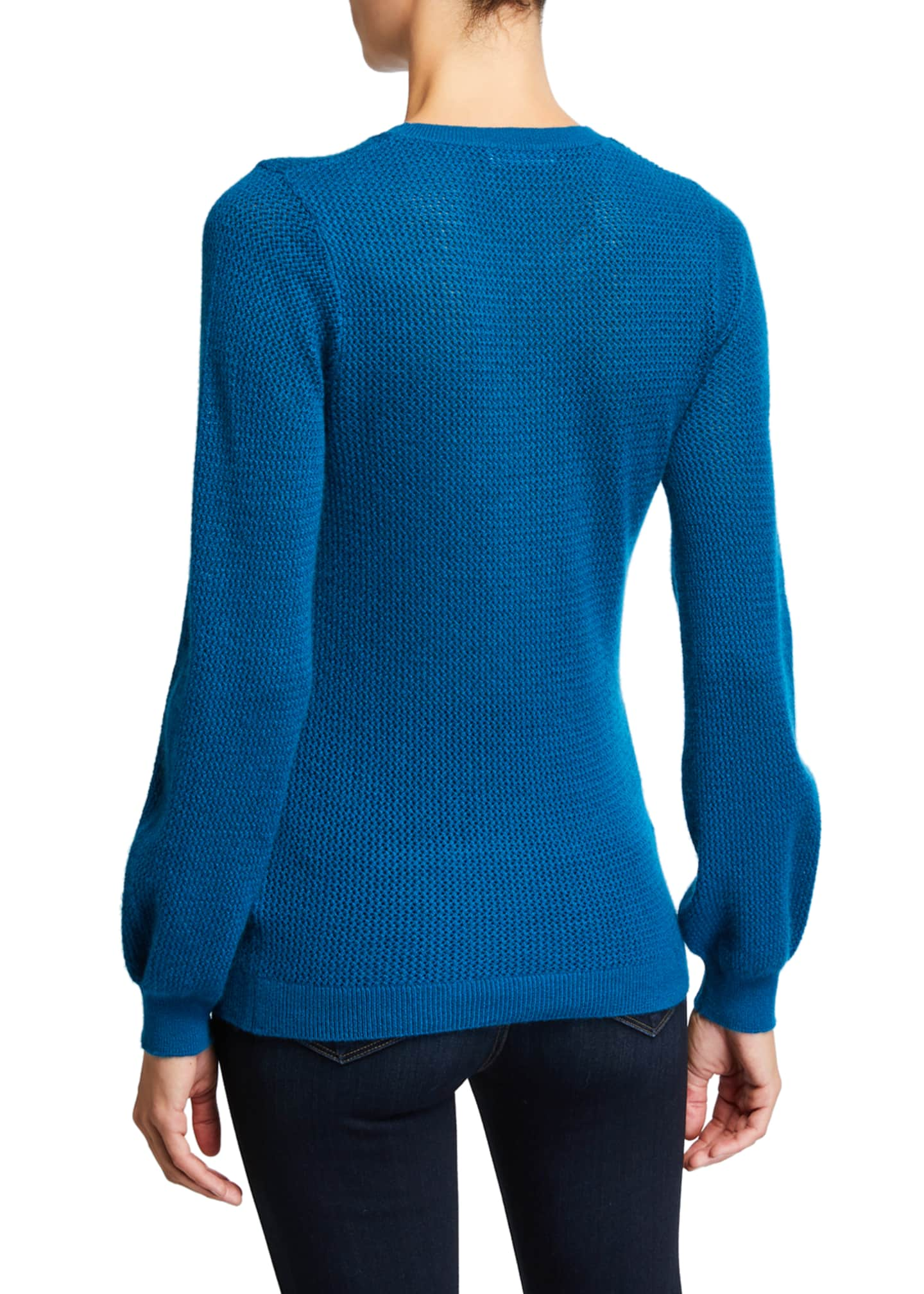 Image 2 of 2: Cashmere Open-Stitch Blouson-Sleeve Crewneck Sweater