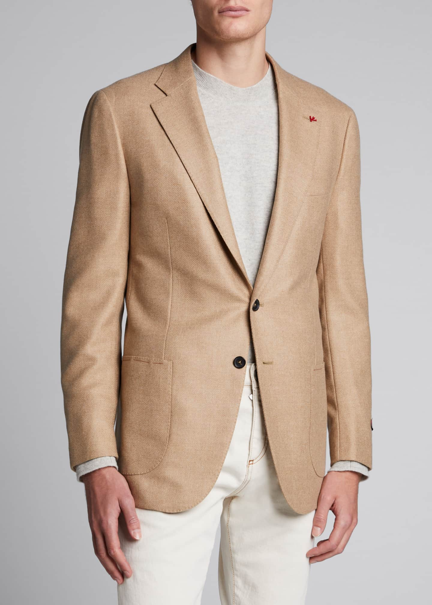Image 3 of 4: Men's Two-Button Twill Blazer