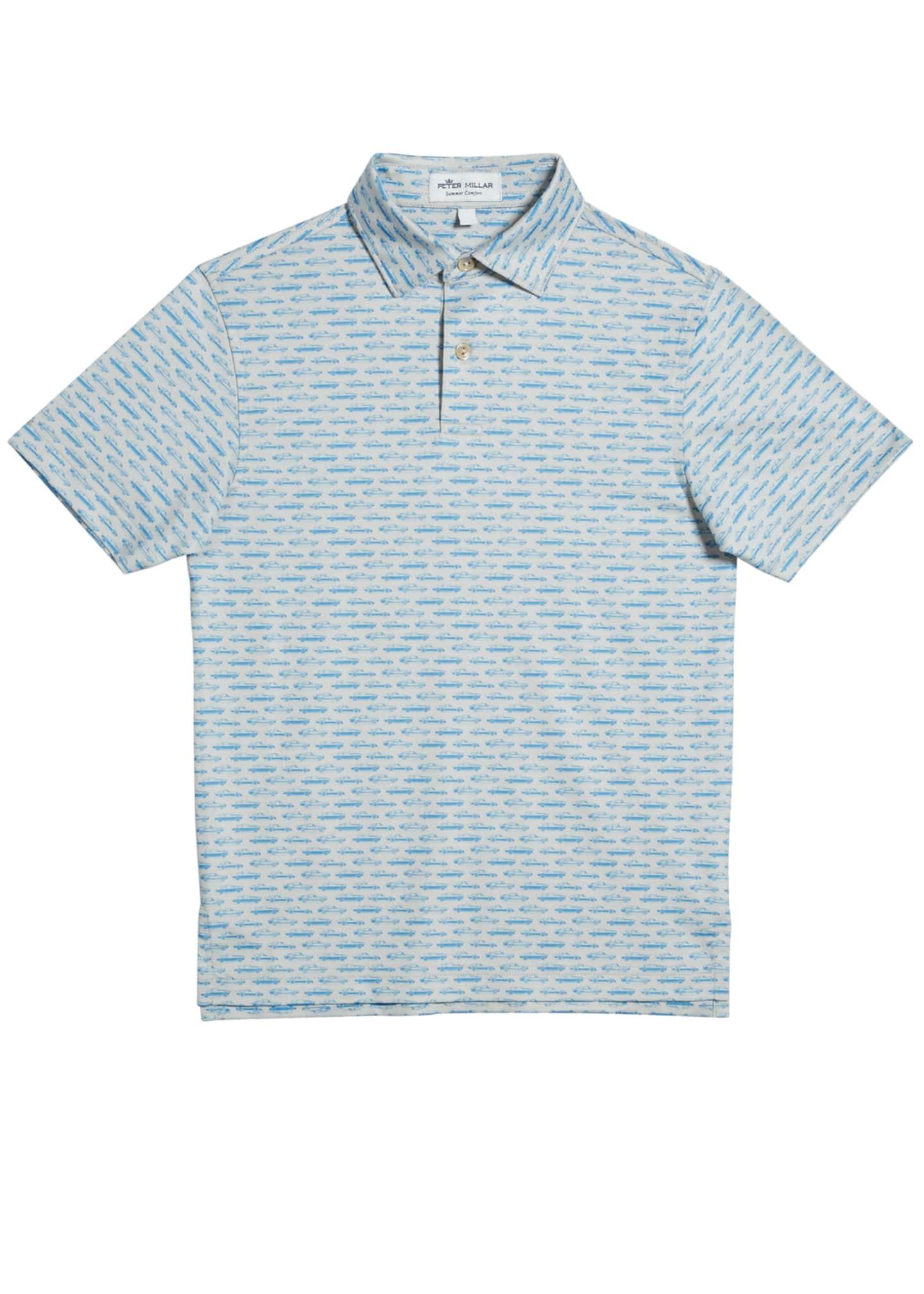 Peter Millar Boy's Car-Print Jersey Polo Shirt, Size