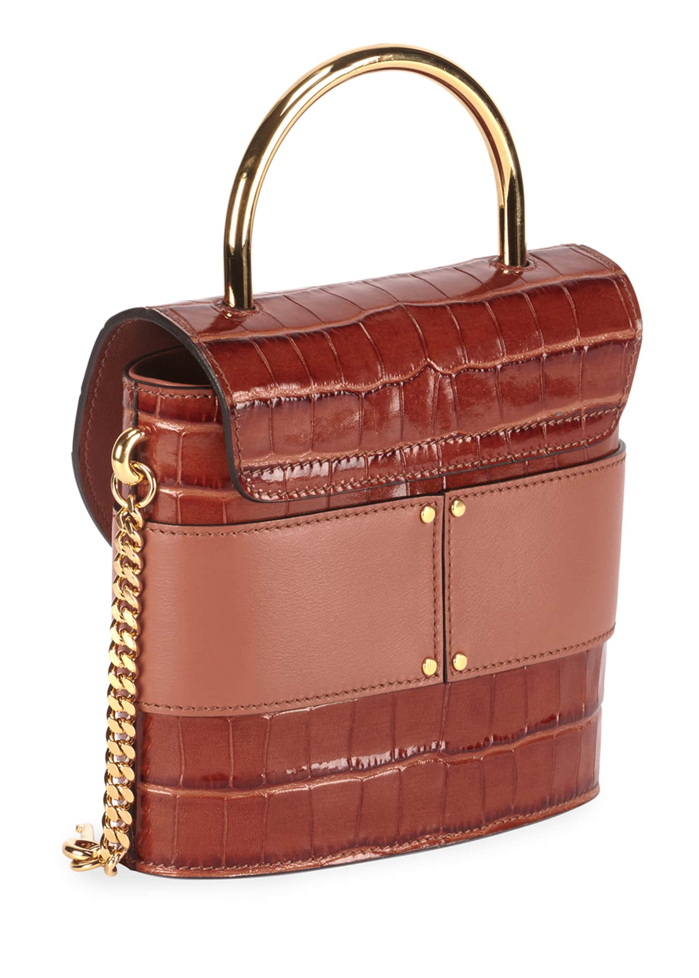 Image 3 of 3: Aby Lock Croco-Embossed Shoulder Bag with Metal Top Handle