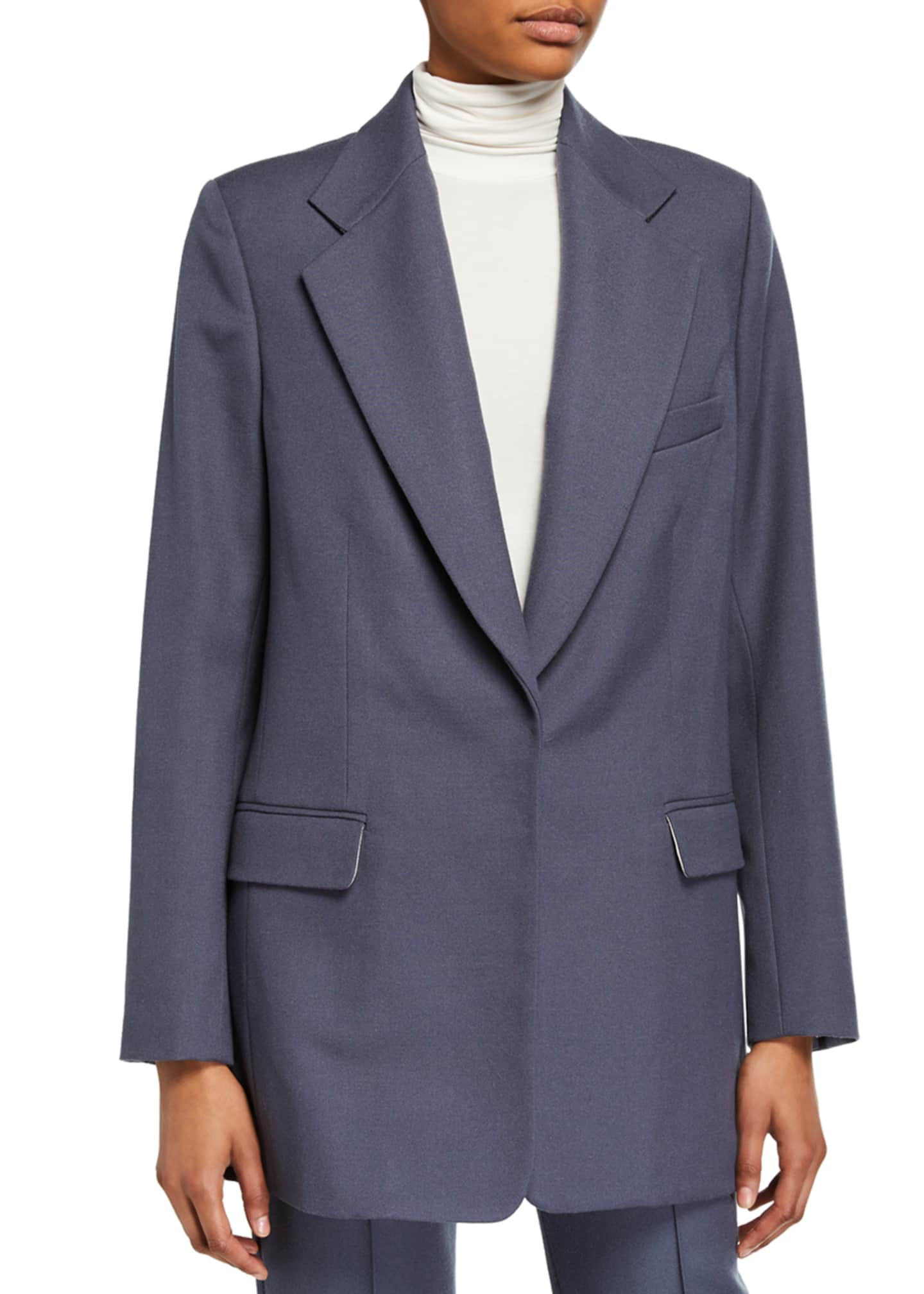 Image 2 of 3: Wool-Blend Oversized Boxy Suit Jacket