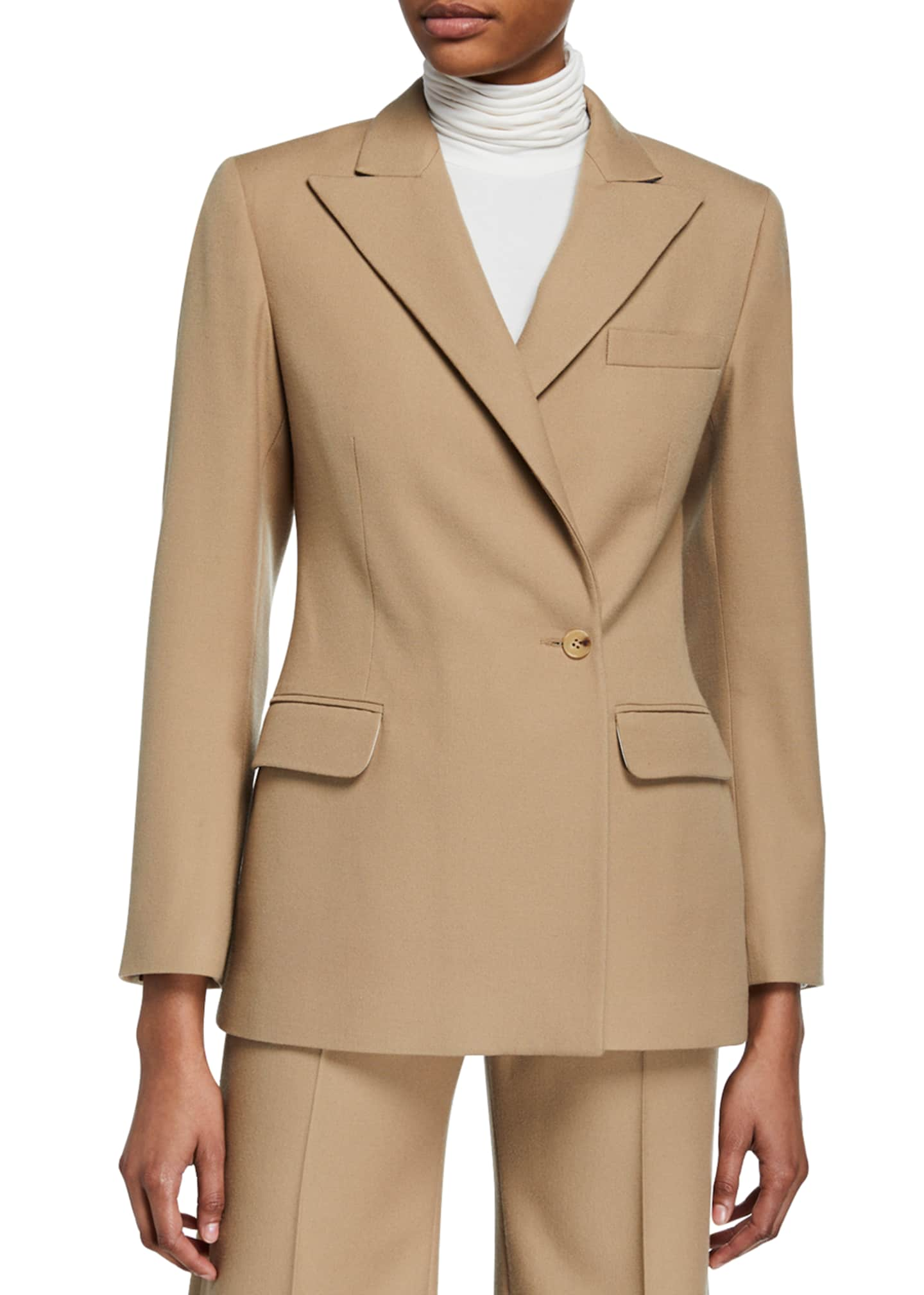 Image 2 of 3: Cinched Wool-Blend Suit Jacket