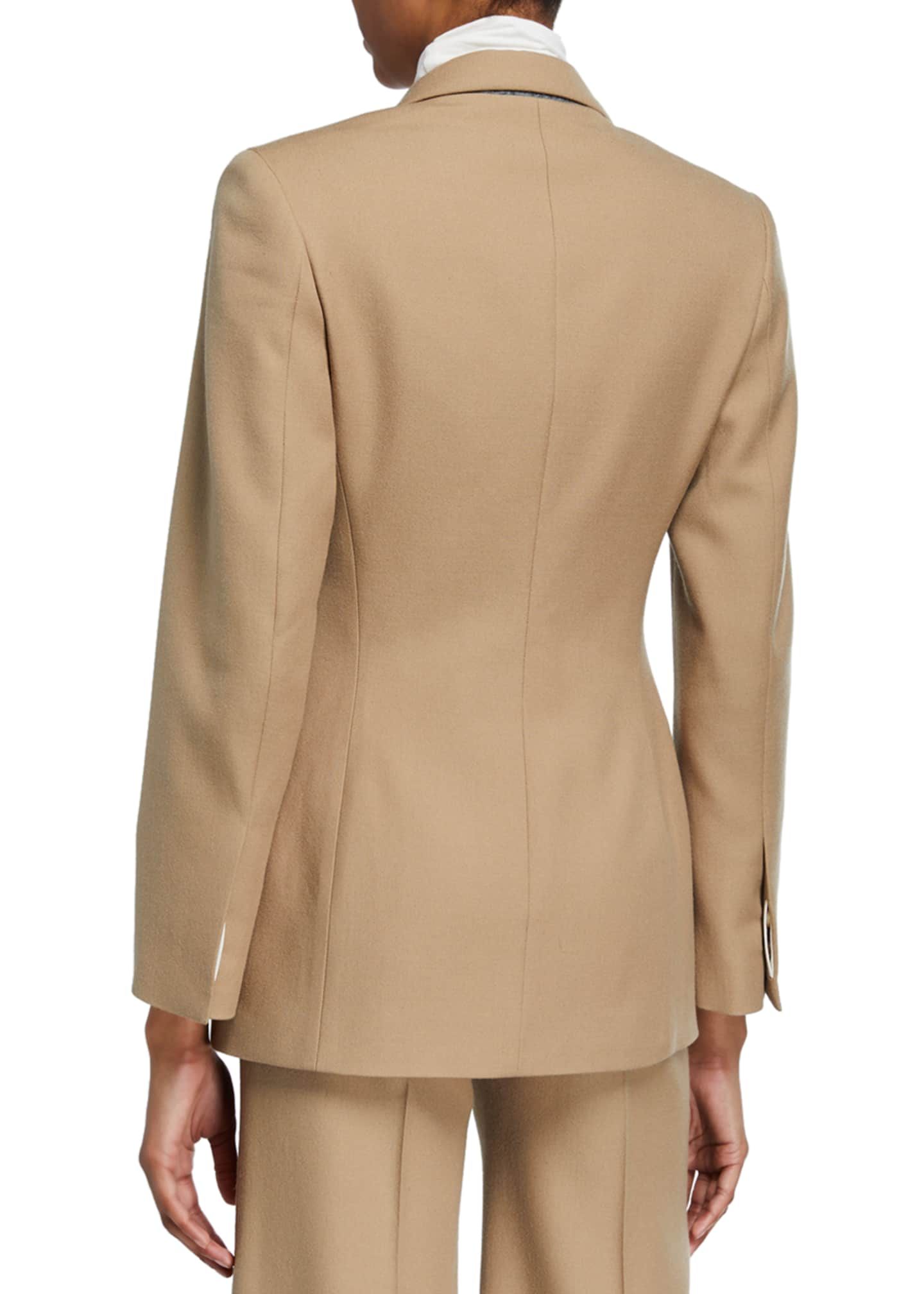 Image 3 of 3: Cinched Wool-Blend Suit Jacket