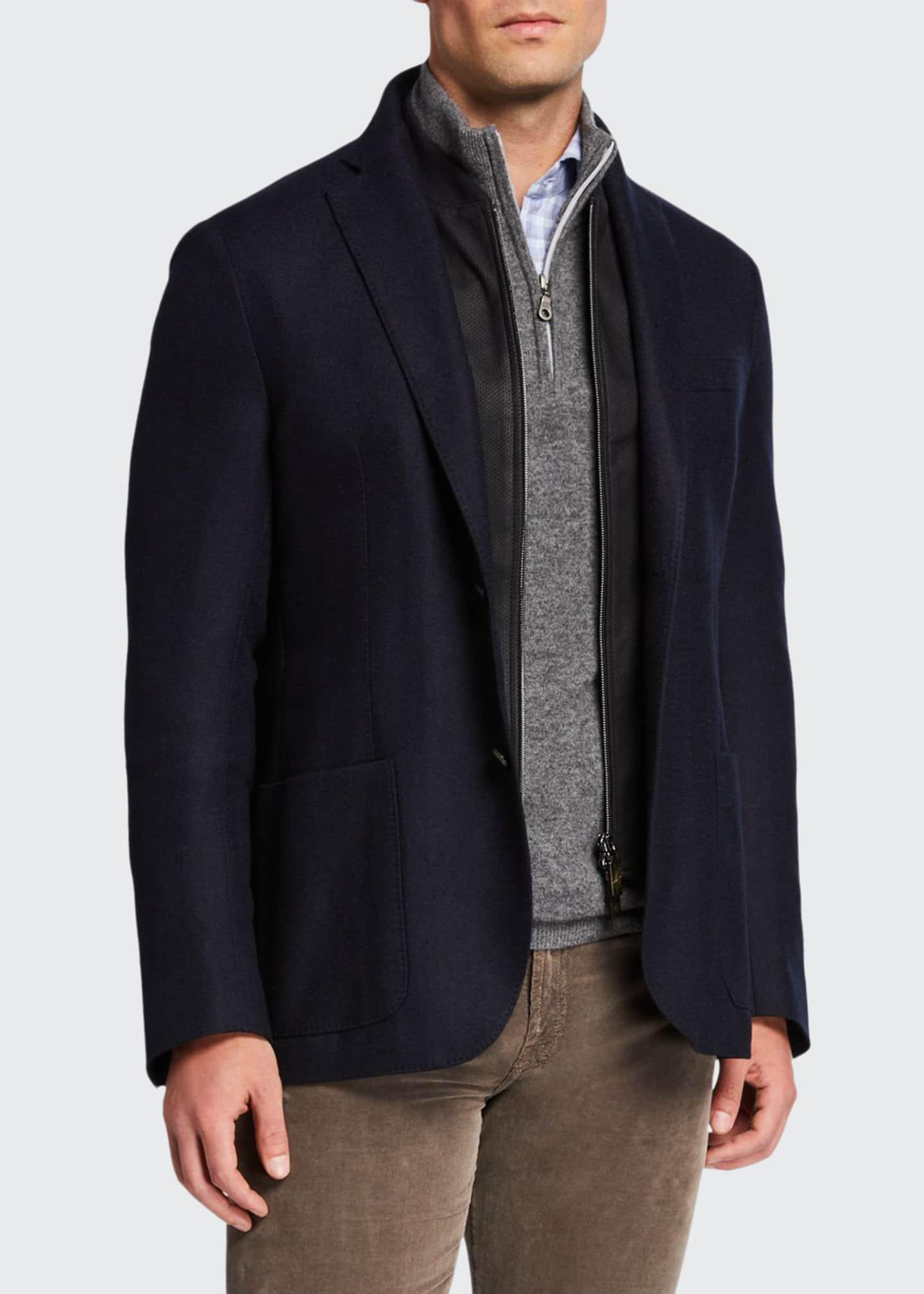 Corneliani Men's Herringbone Soft Jacket w/ Suede Dickey
