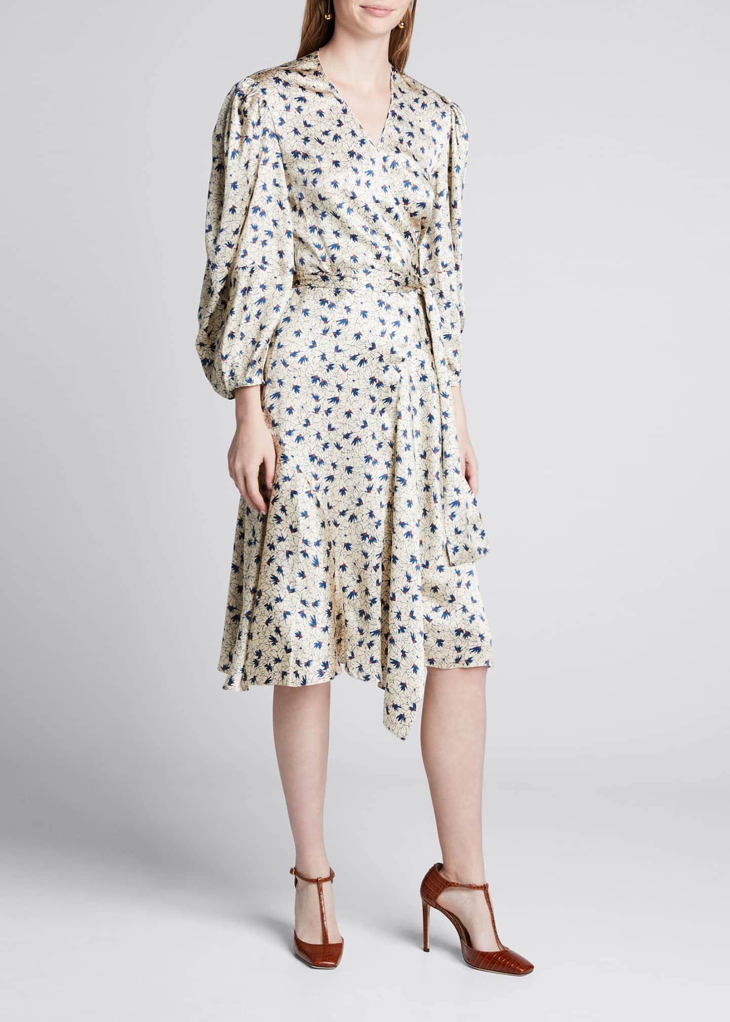 Chloe Silk 3/4-Sleeve Wrap Dress