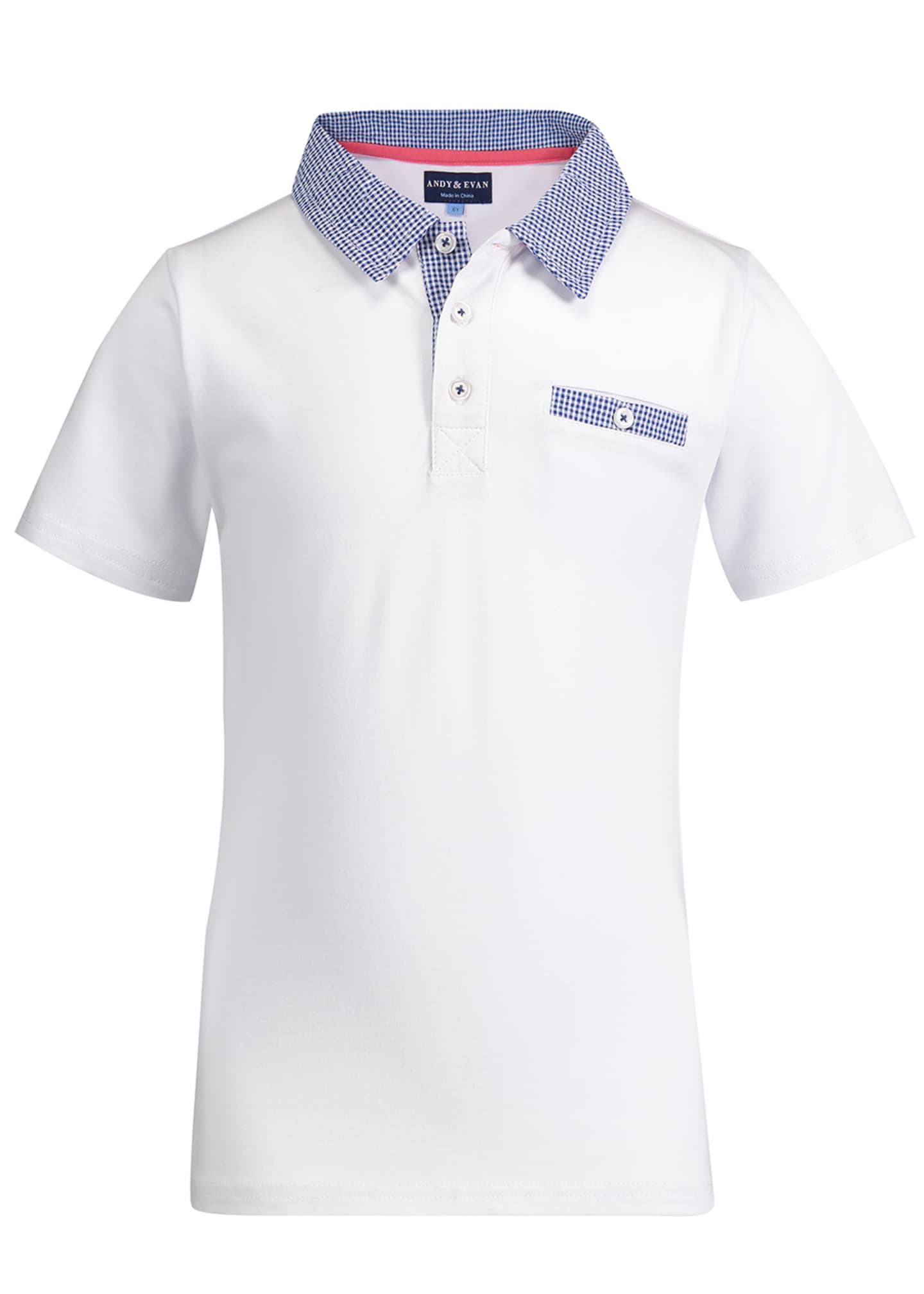 Andy & Evan Gingham Trim Polo Shirt, Size