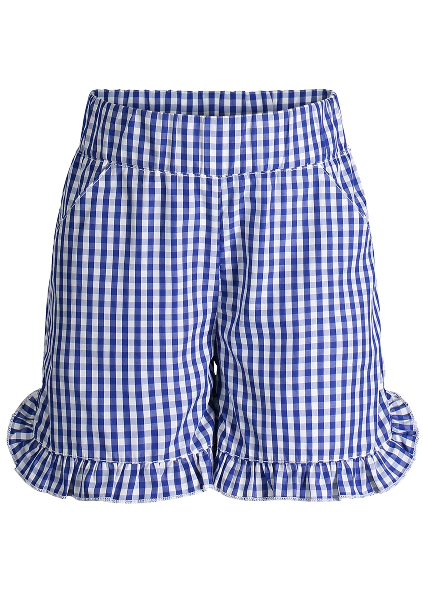 Andy & Evan Ruffle Hem Gingham Shorts, Size