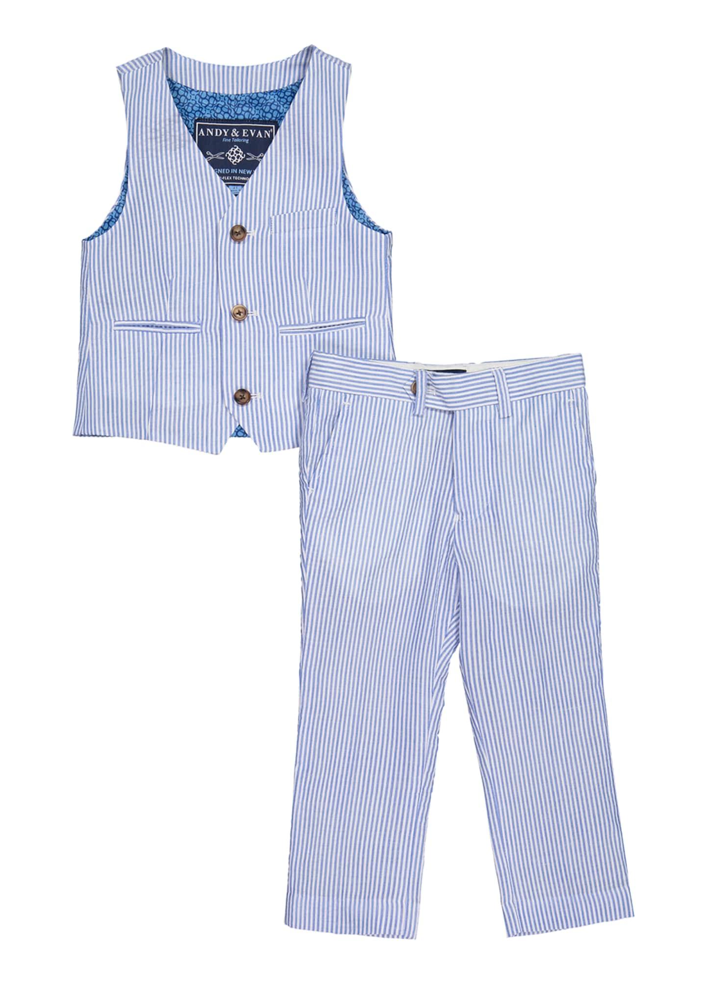 Andy & Evan Seersucker Suiting Vest w/ Matching