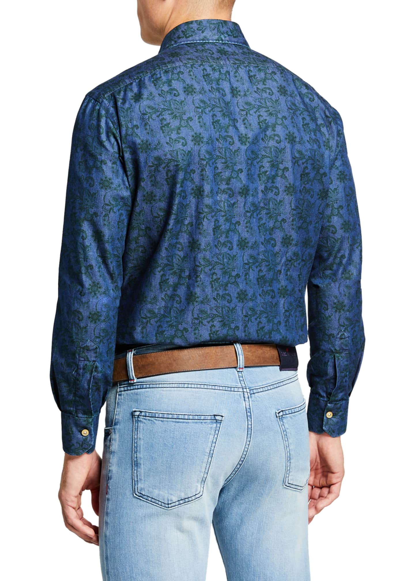 Image 2 of 3: Men's Floral Chambray Sport Shirt