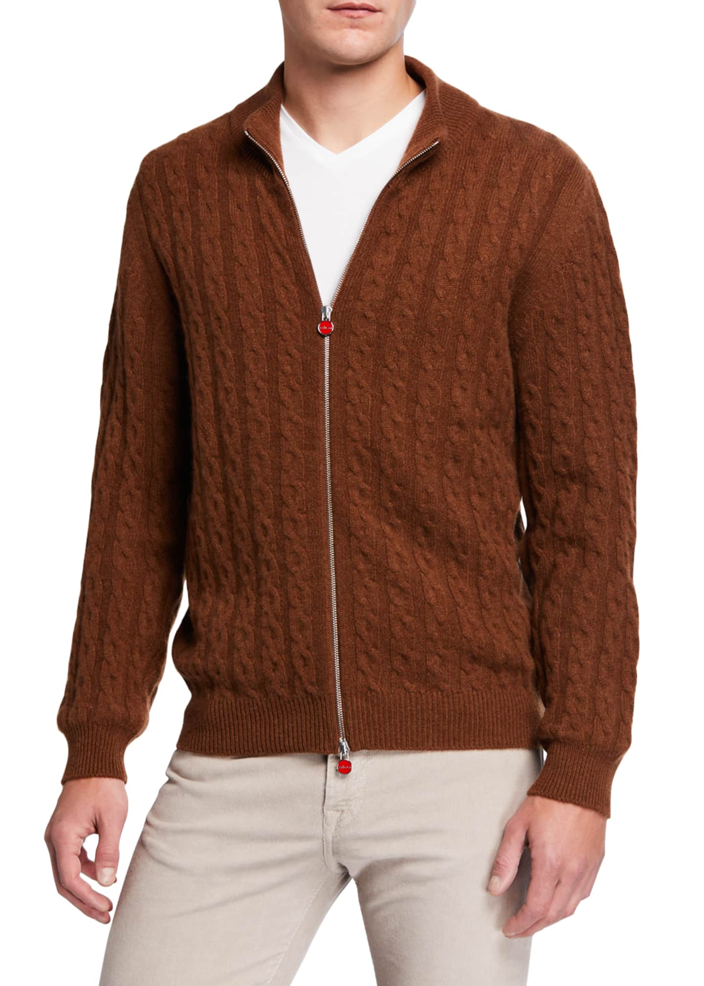 Image 2 of 3: Men's Cable-Knit Two-Way Zip Cardigan Sweater