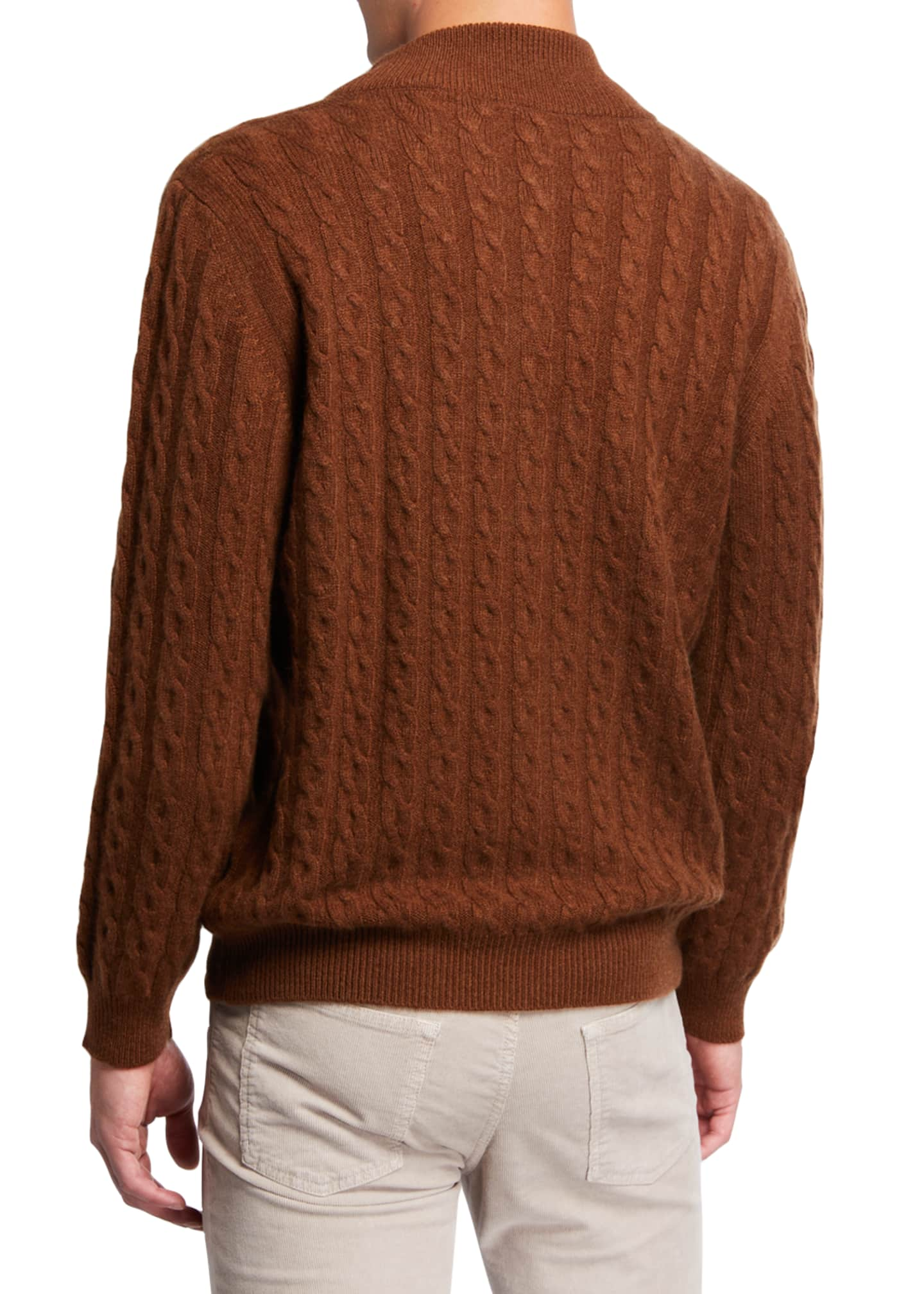 Image 3 of 3: Men's Cable-Knit Two-Way Zip Cardigan Sweater