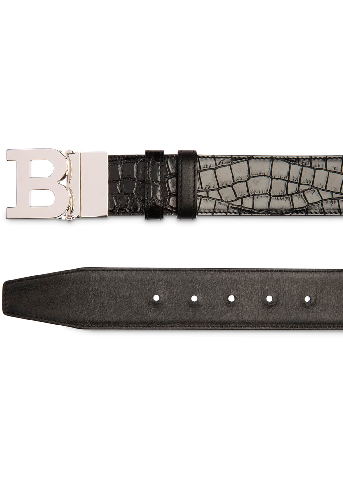 Image 2 of 2: Men's B Buckle Stamped Croc Belt