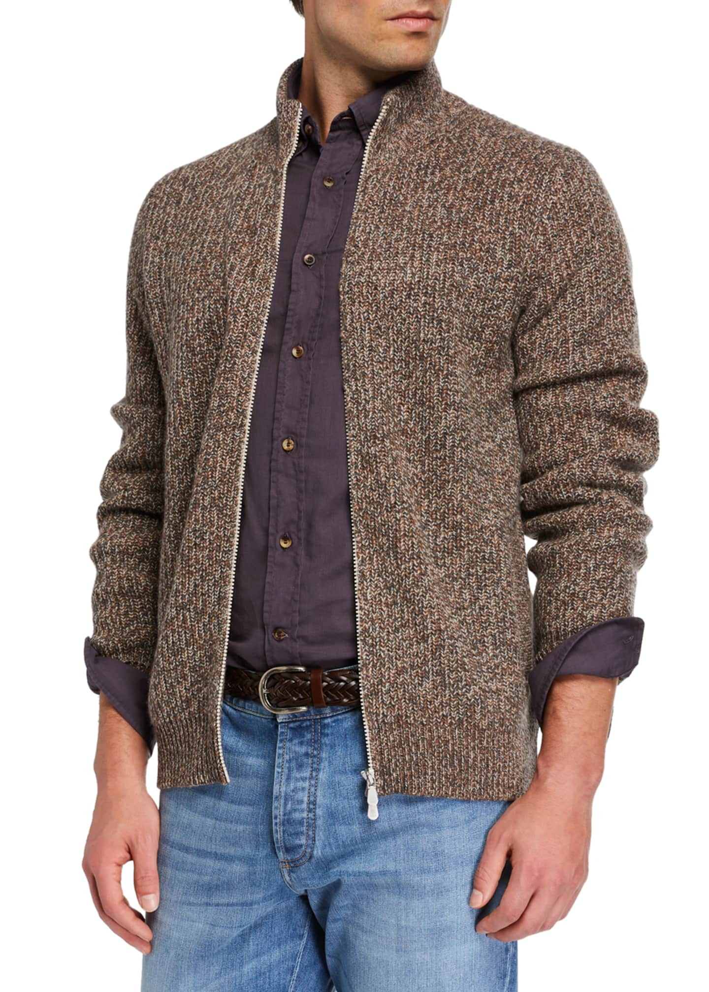 Image 2 of 3: Men's Chunky Donegal Zip-Up Sweater