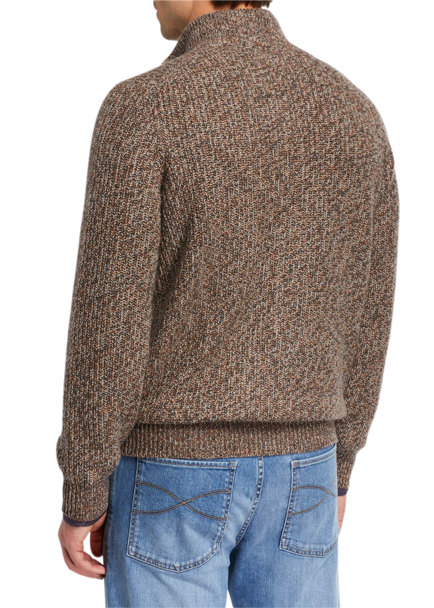 Image 3 of 3: Men's Chunky Donegal Zip-Up Sweater