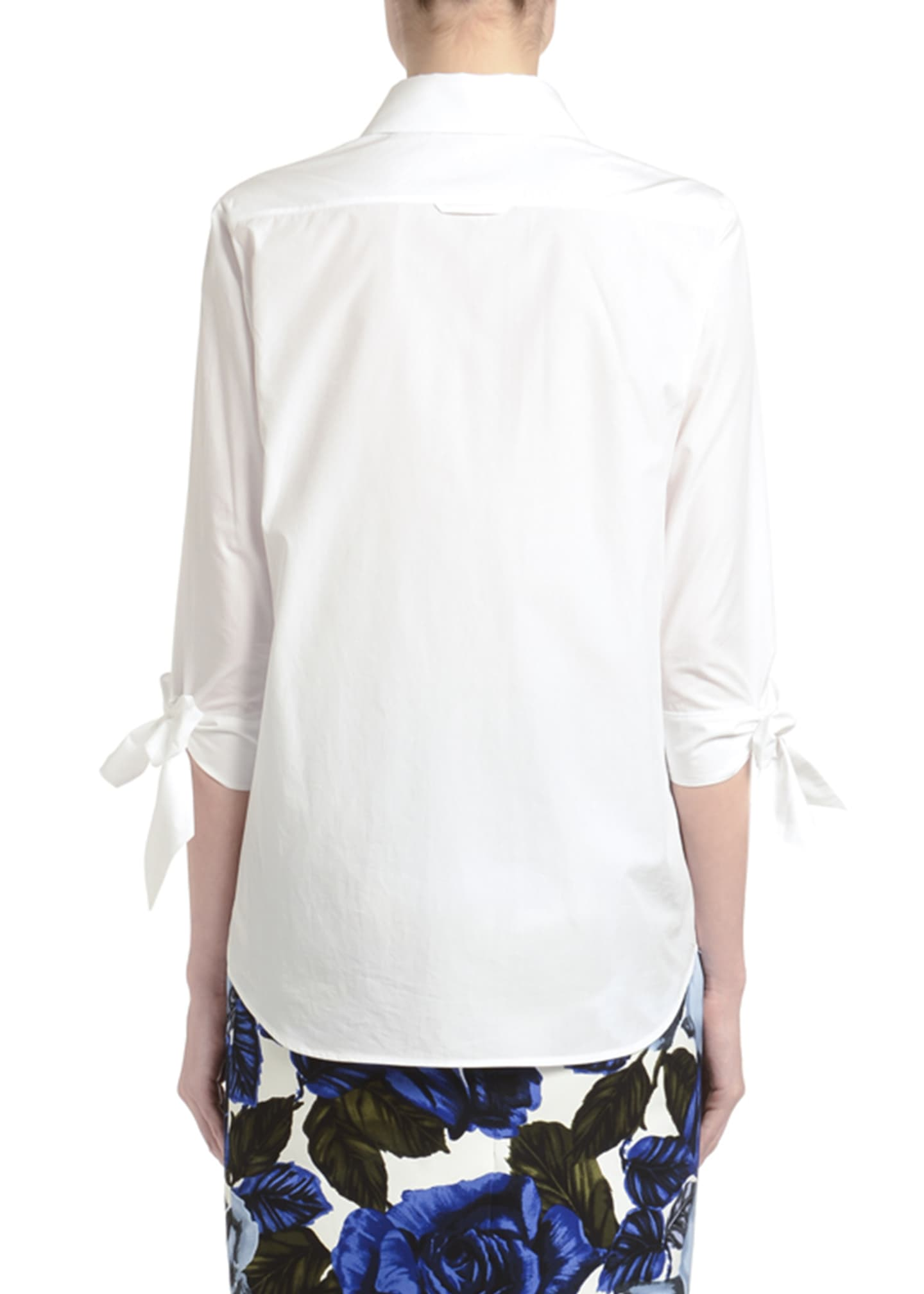 Image 2 of 3: Tie-Sleeve Button-Front Poplin Shirt