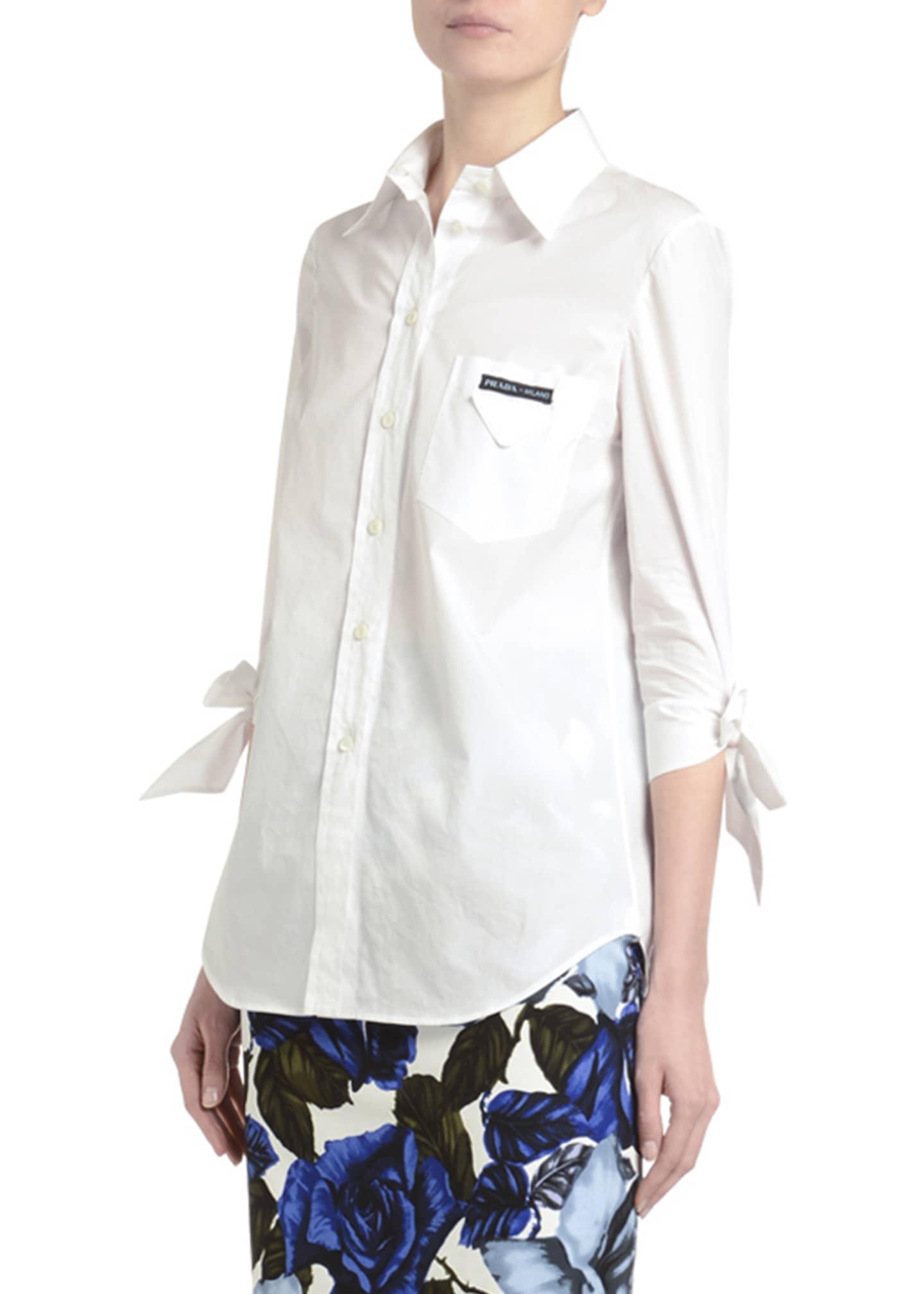 Image 3 of 3: Tie-Sleeve Button-Front Poplin Shirt