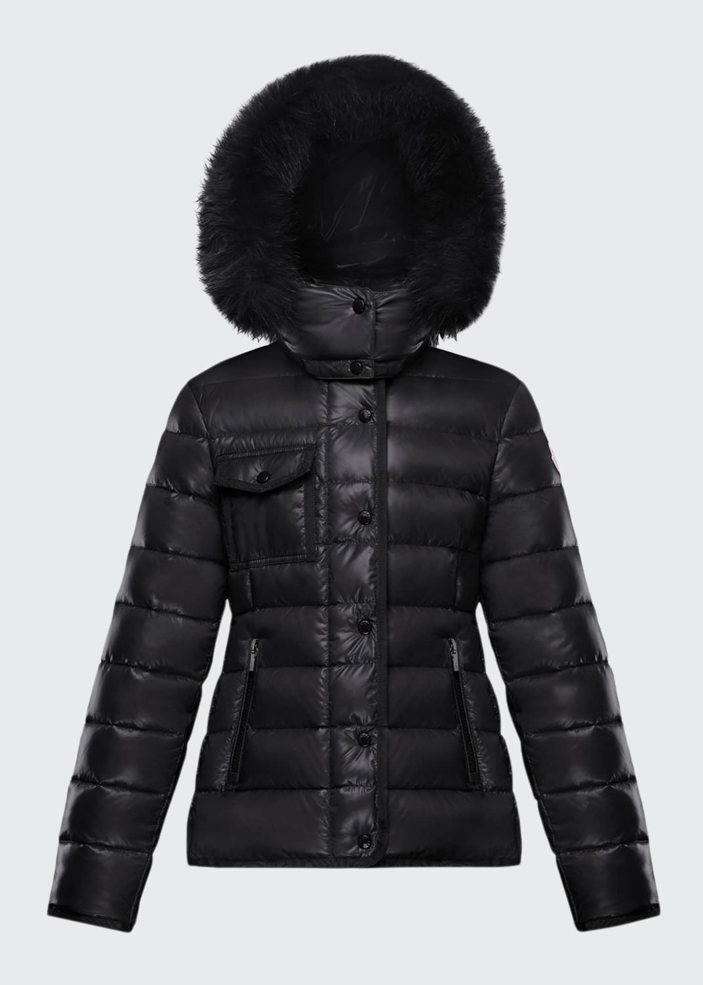 Moncler Armoise Quilted Nylon Puffer Jacket w/ Fur