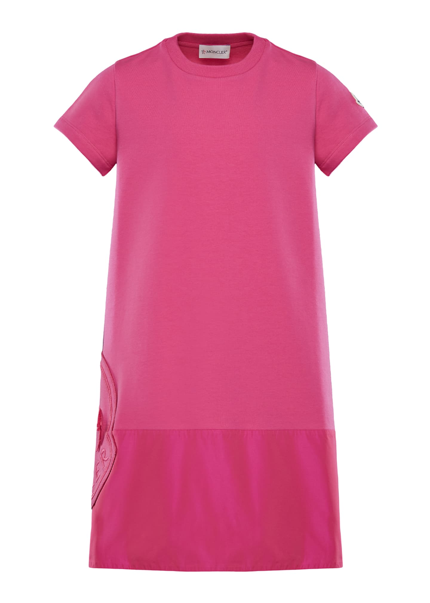 Moncler Short-Sleeve A-Line Dress w/ Side Logo Embroidery,
