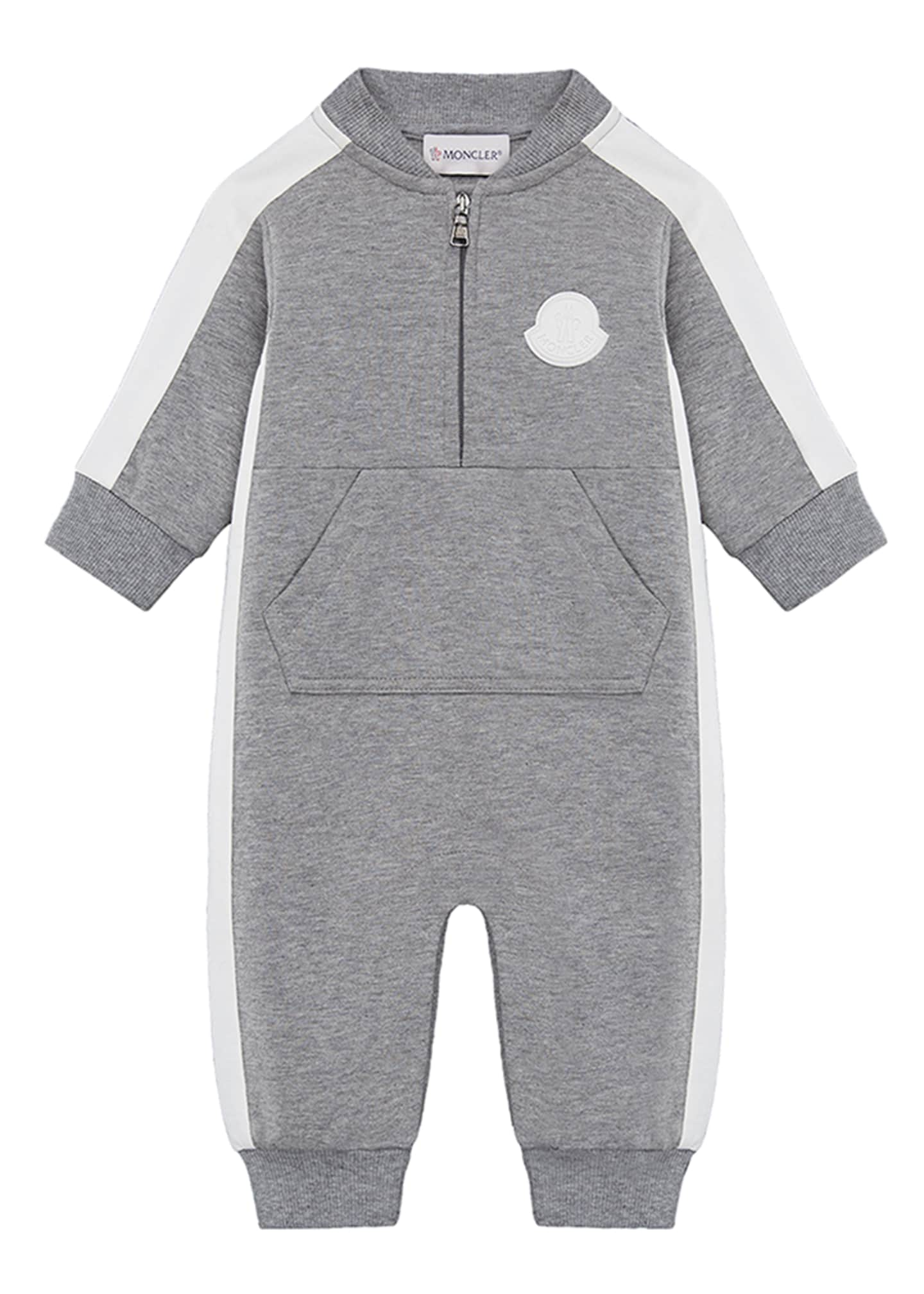 Moncler Heathered Coverall w/ Contrast Trim, Size 3-24