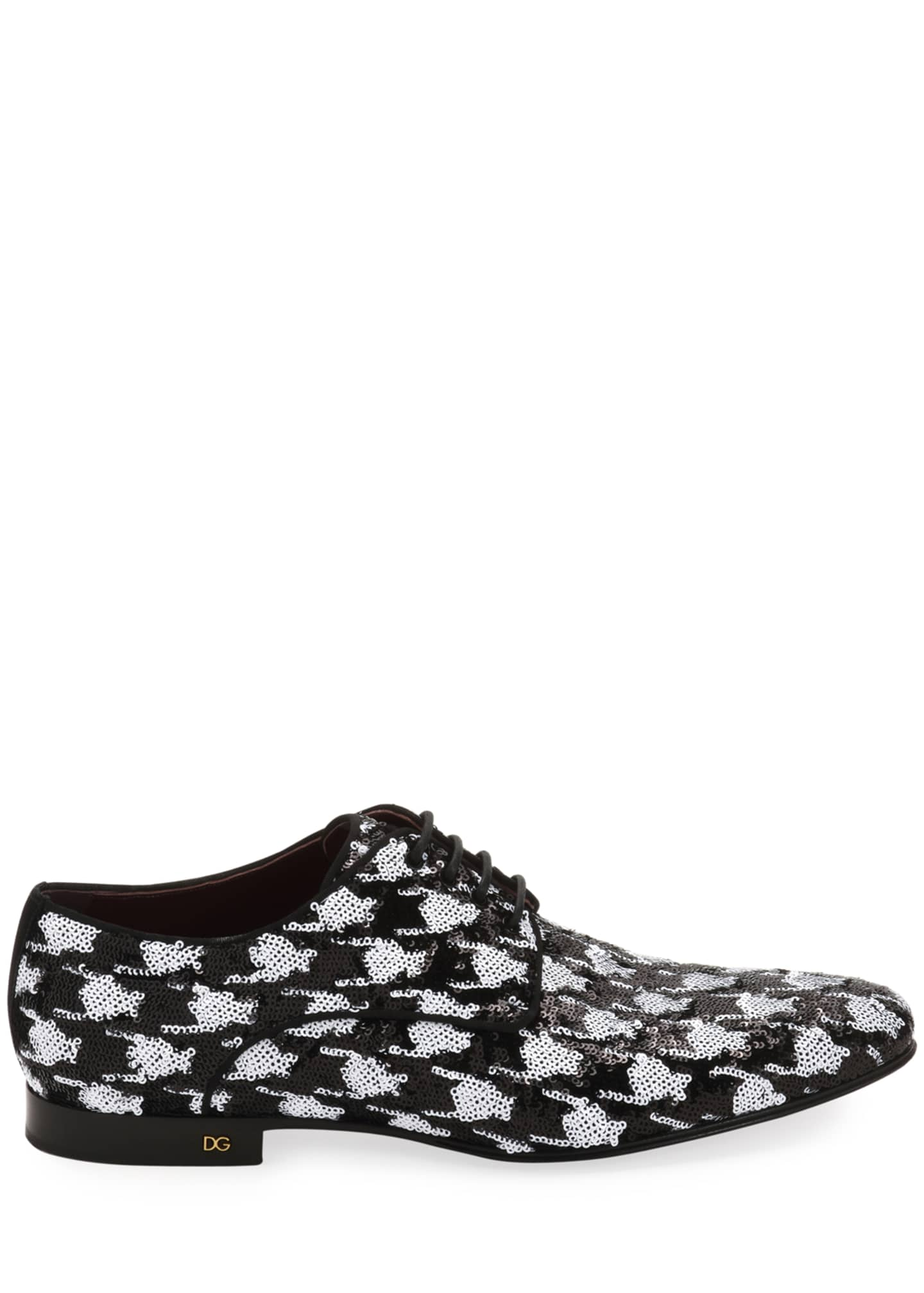 Image 2 of 3: Men's Two-Tone Patterned Sequin Derby Shoes