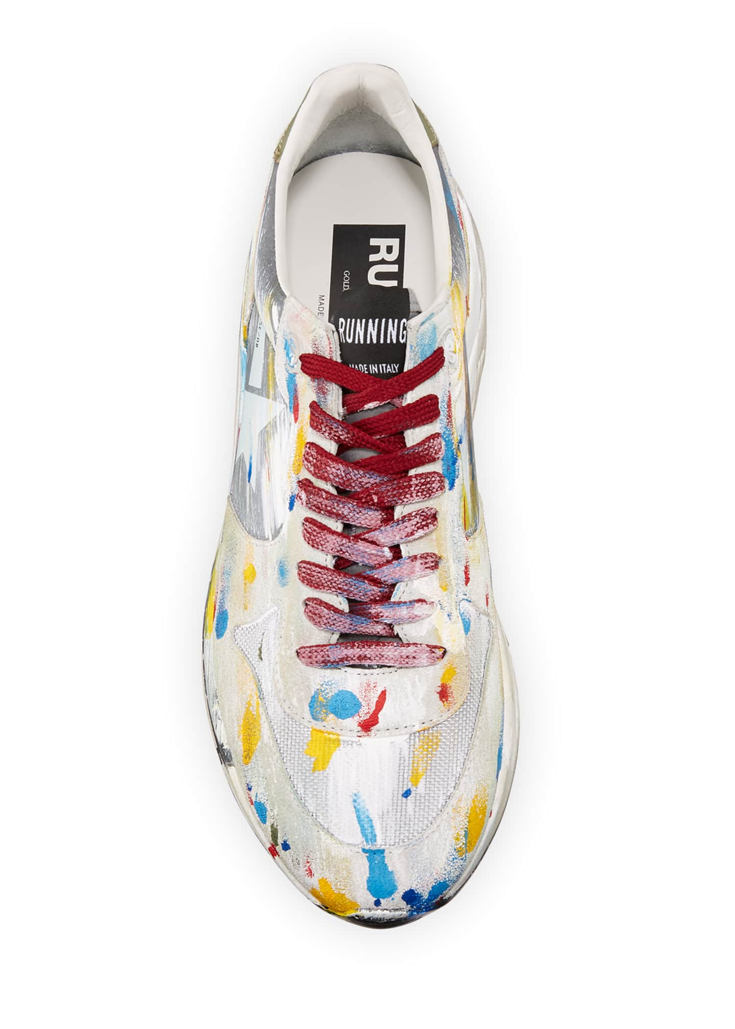 Image 2 of 3: Men's Paint-Splatter Suede Running Sneakers