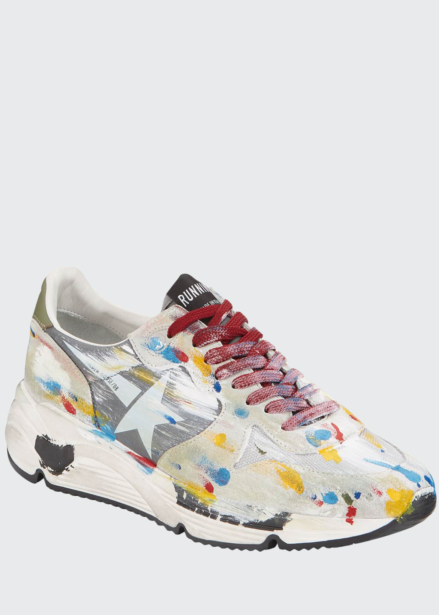 Golden Goose Men's Paint-Splatter Suede Running Sneakers